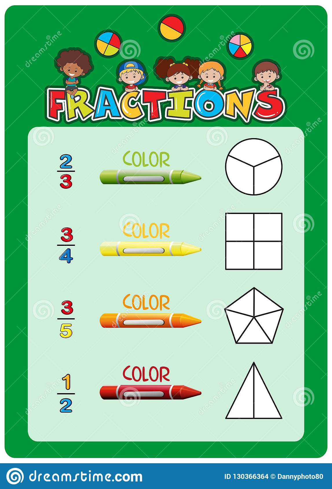 Math Fractions Worksheet Template Stock Vector