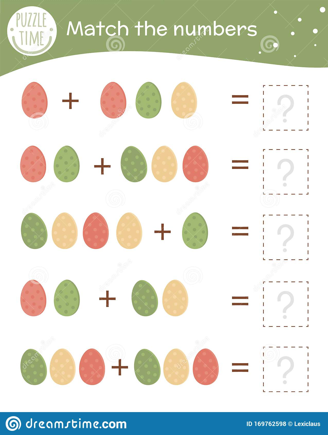 Math Game With Colored Eggs Easter Mathematic Activity