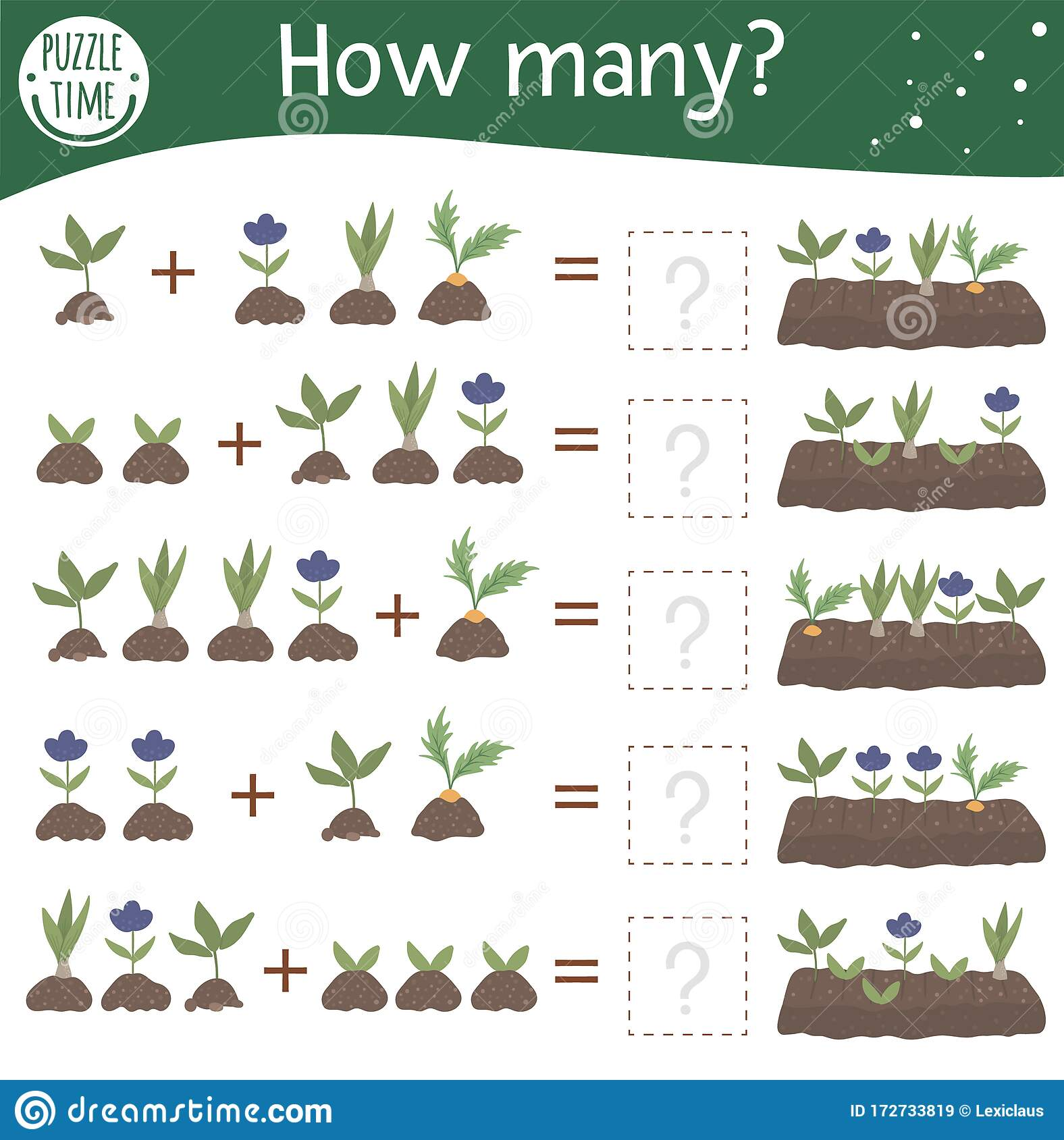 Math Game With Plants In A Bed Spring Mathematic Activity