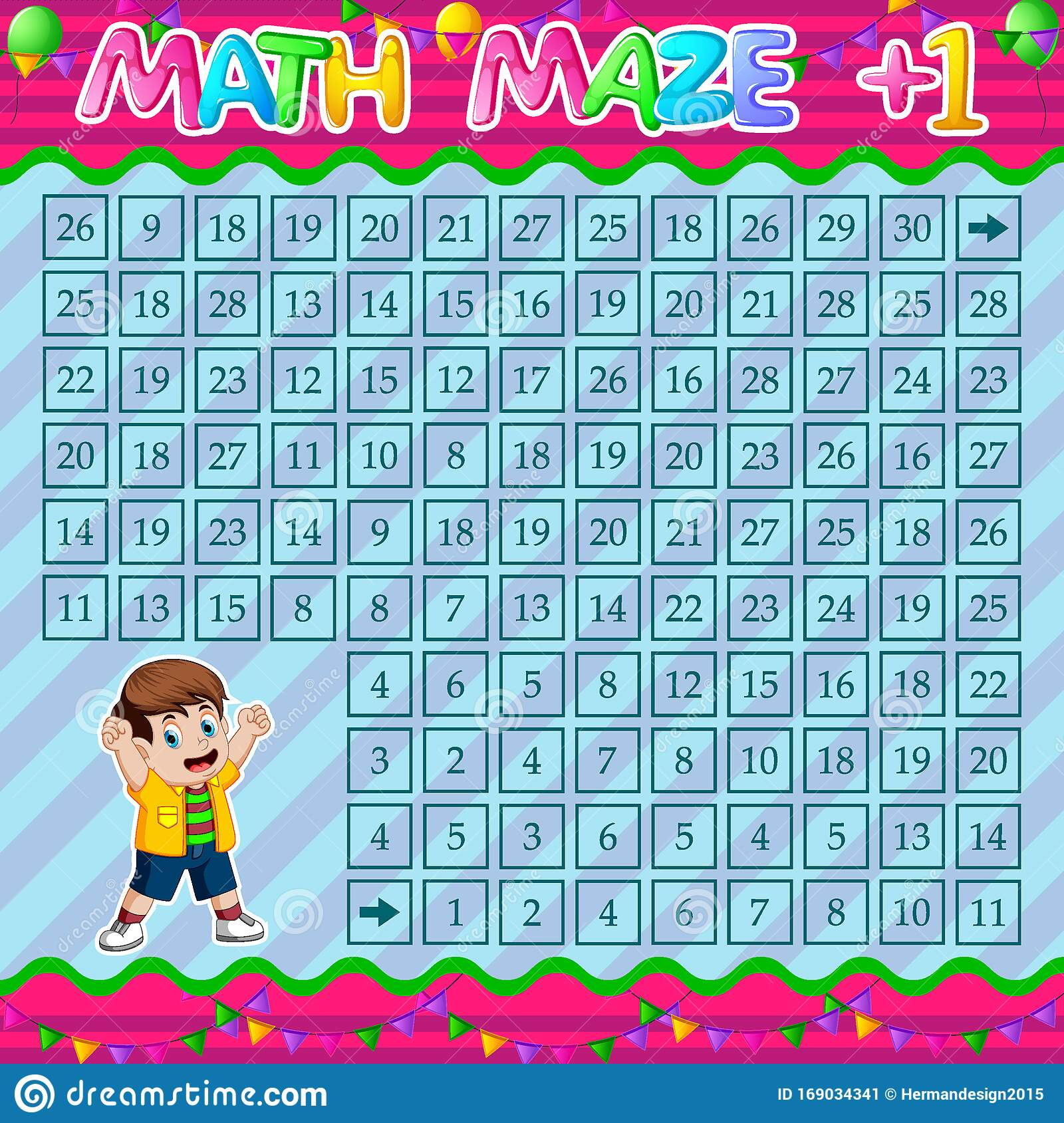 Math Maze Addition Worksheet With Cute Boy Stock Vector
