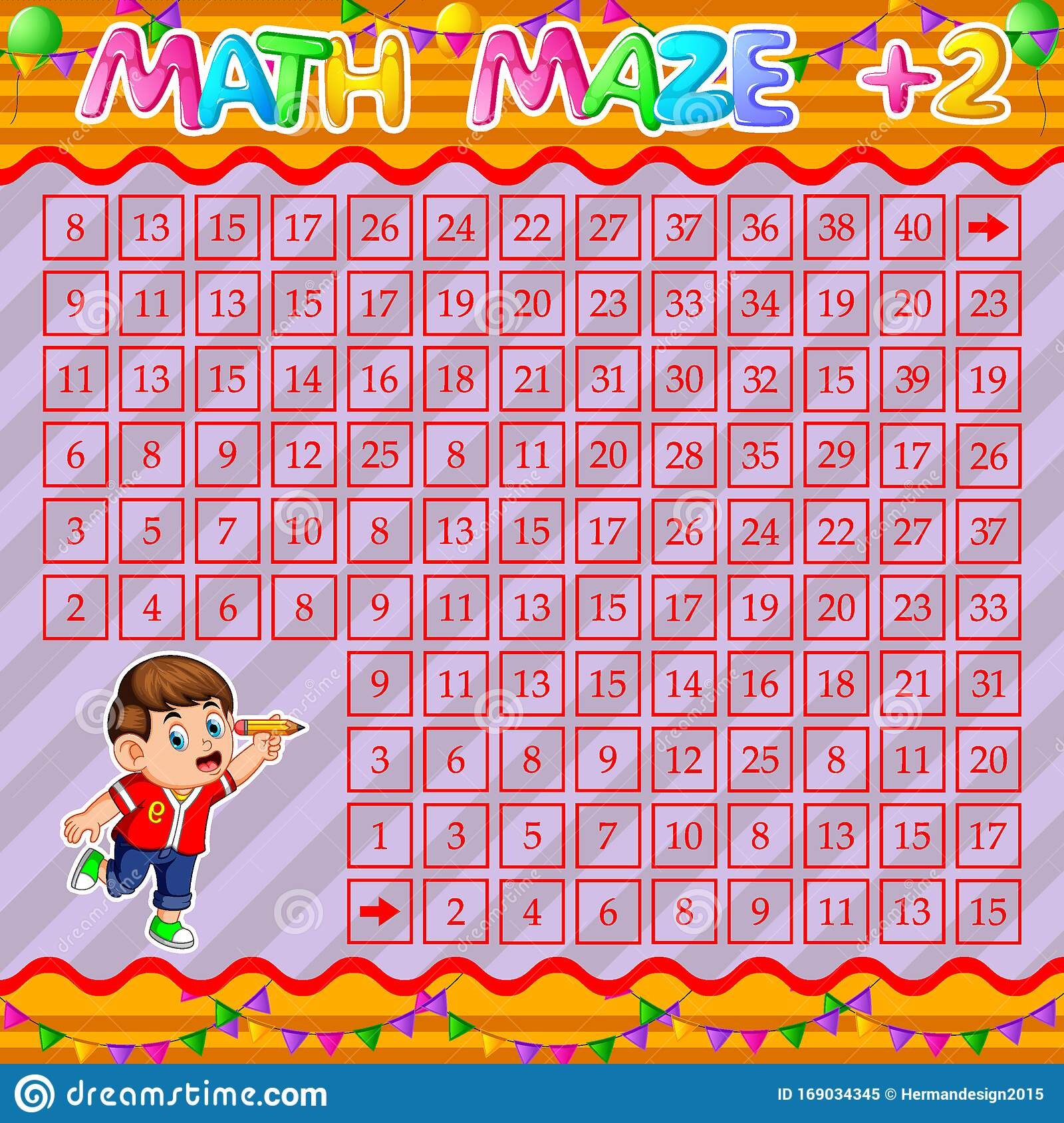 Math Maze Addition Worksheet With Happy Boy Holding Pencil