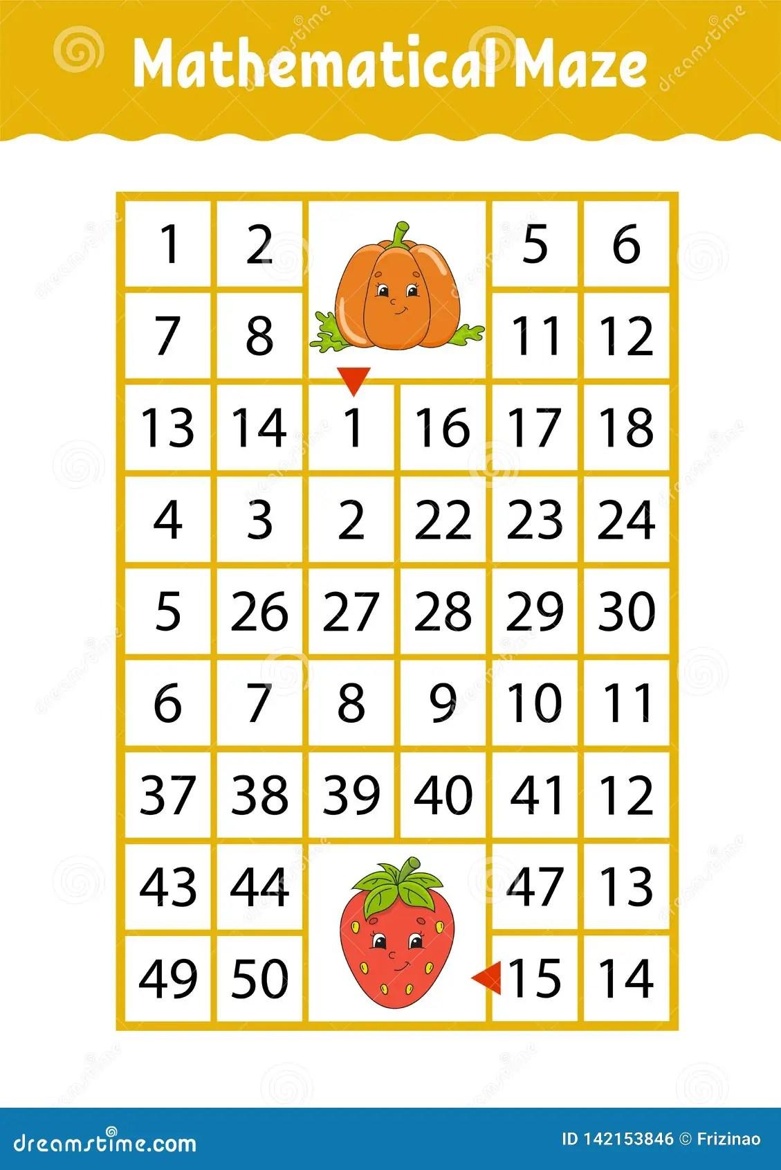 Preschool Number Maze Worksheet