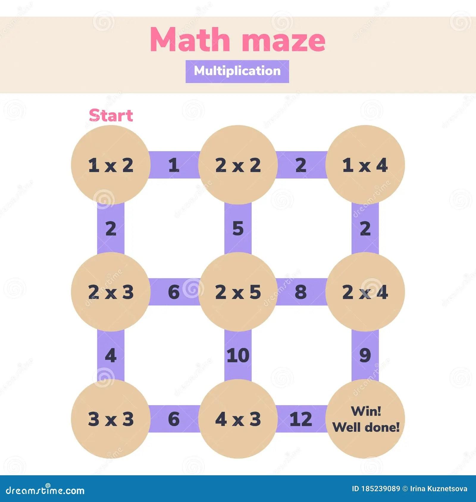 Math Maze Multiplication Logic Game For School Kids