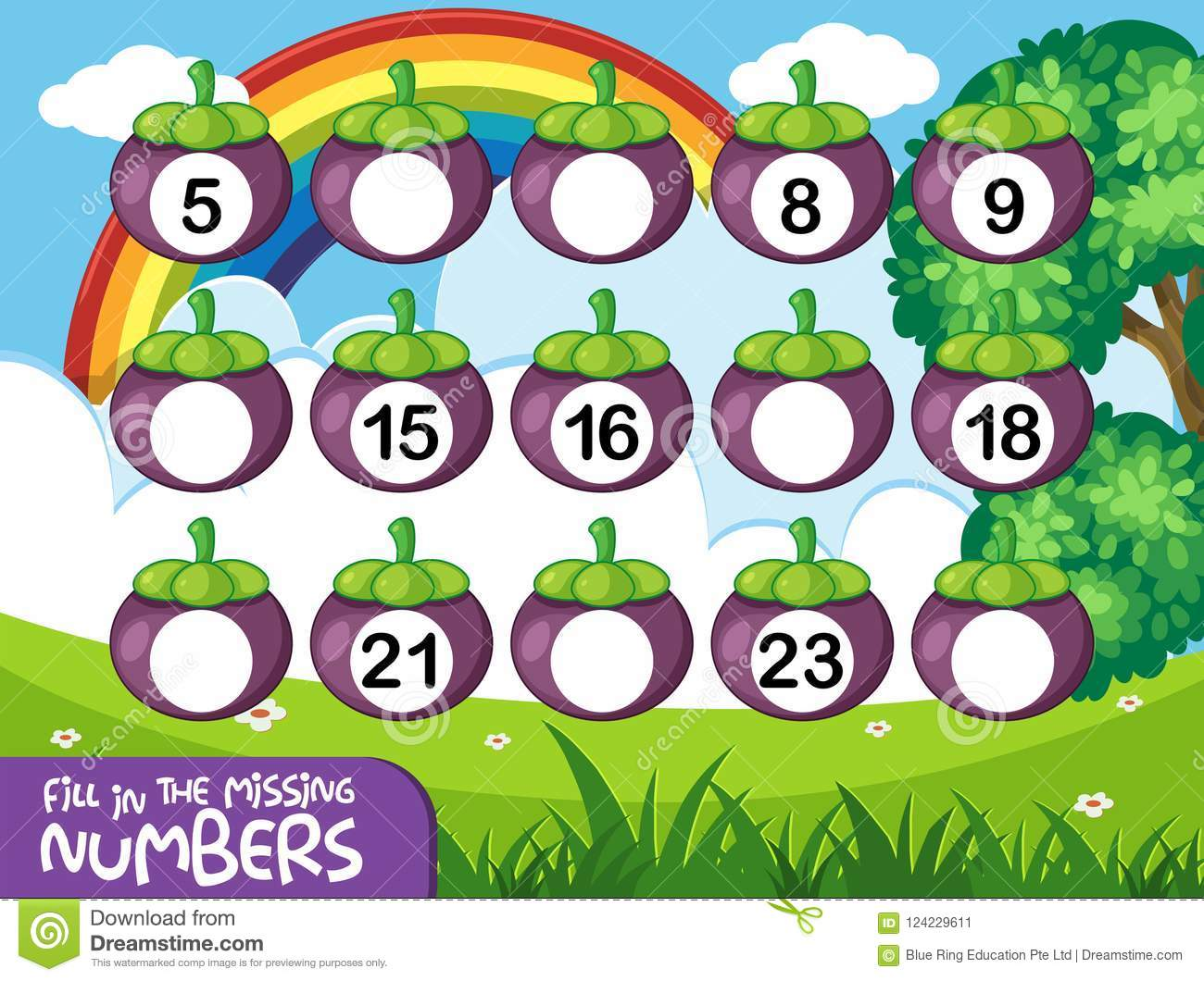 A Math Number Worksheet Stock Vector Illustration Of