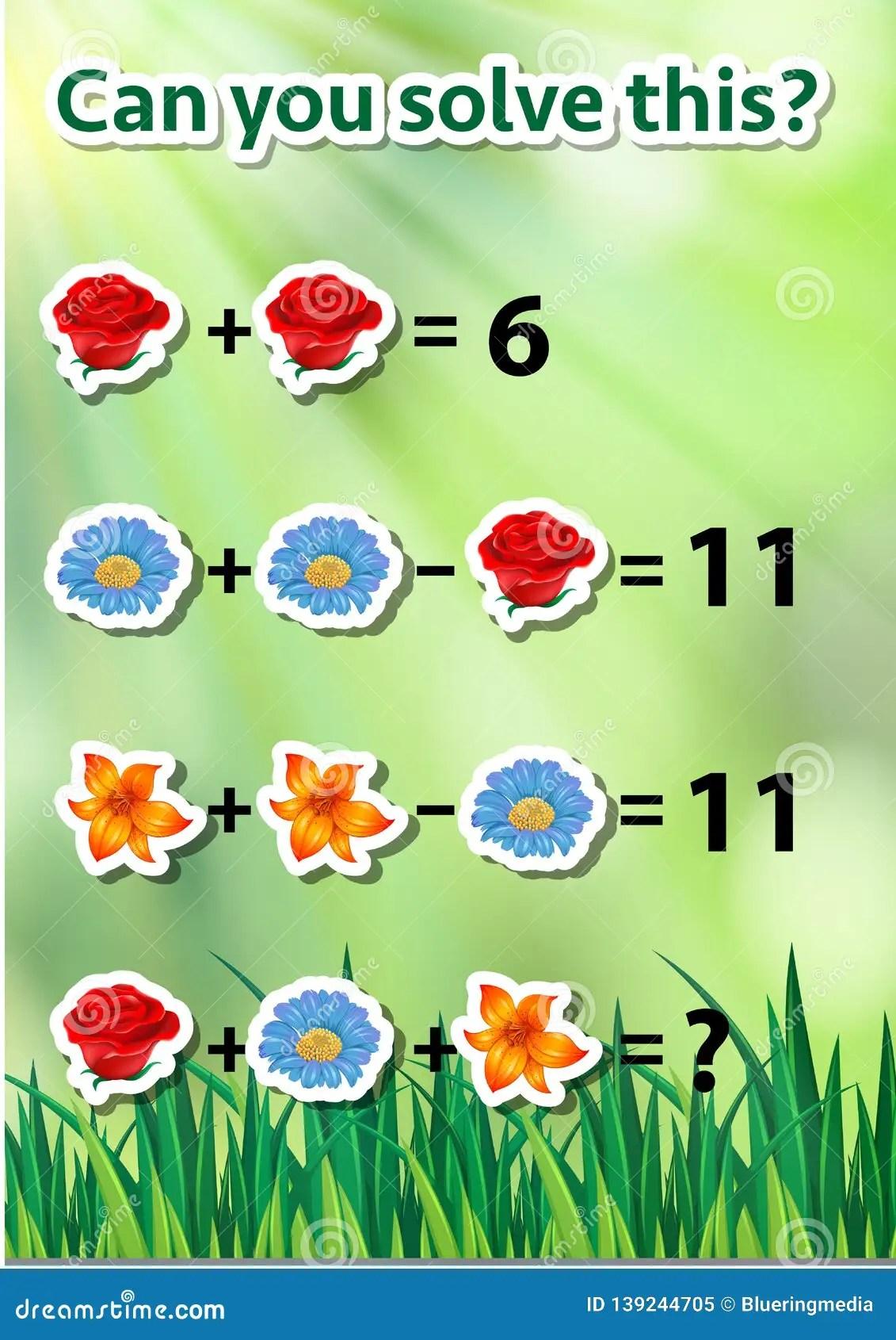Math Problem Solving Worksheet Stock Vector