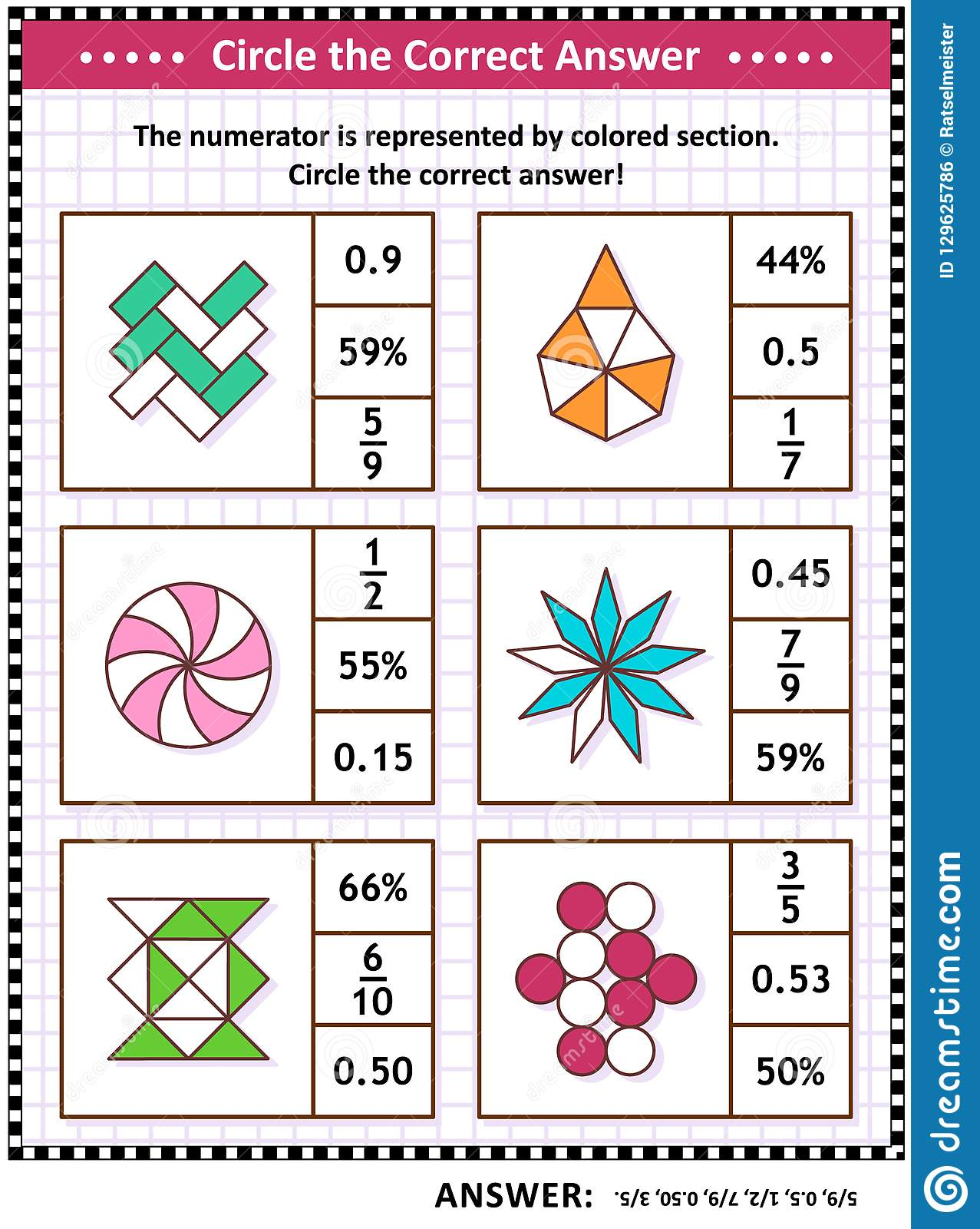 Math Skills Training Puzzle Or Worksheet With Visual Fractions Stock Vector