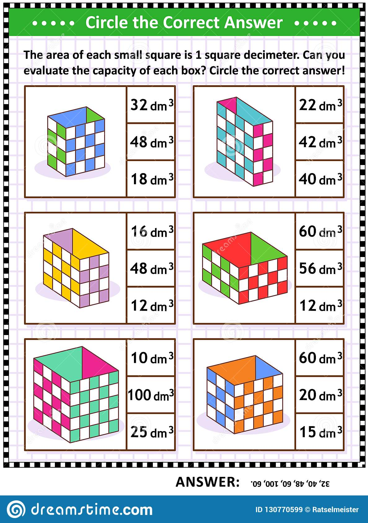 Math Skills Training Puzzle Or Worksheet With Box Capacity