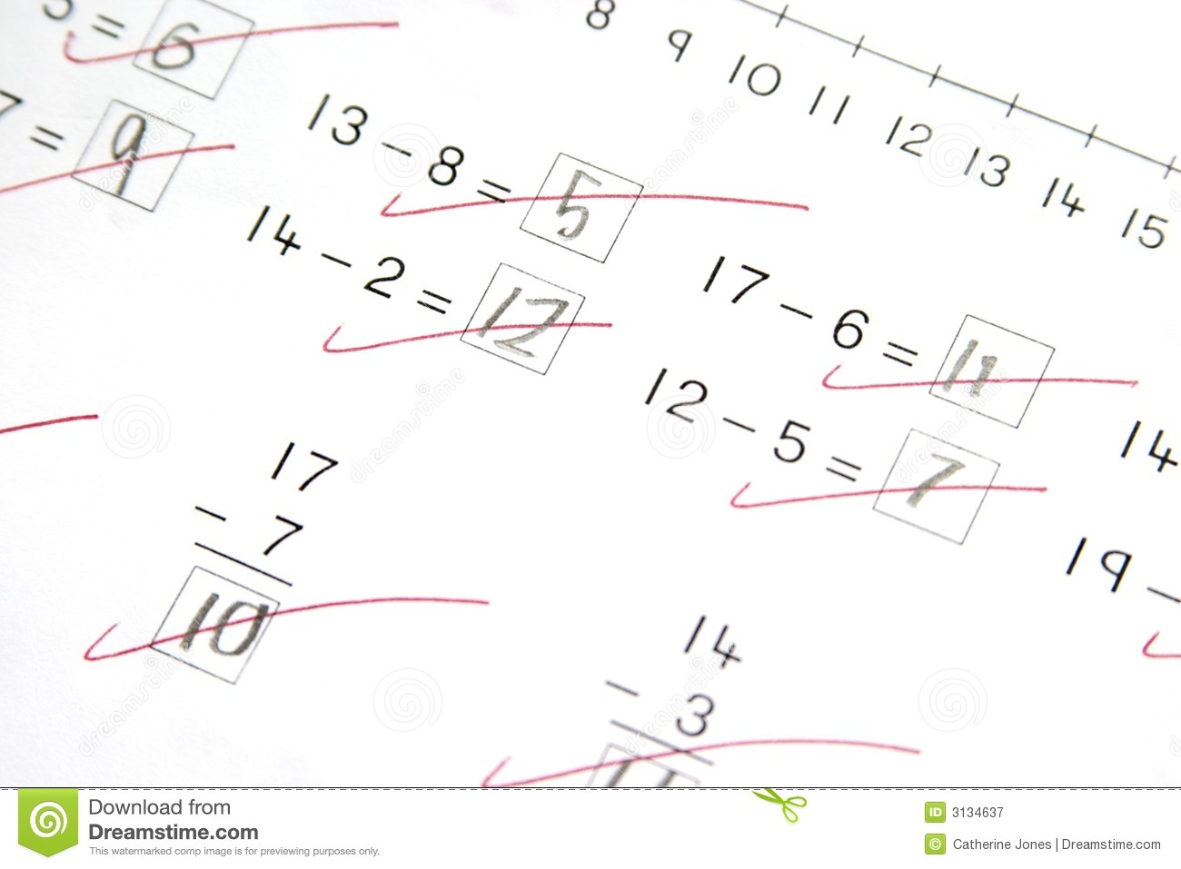 Math Test Elementary School Stock Image