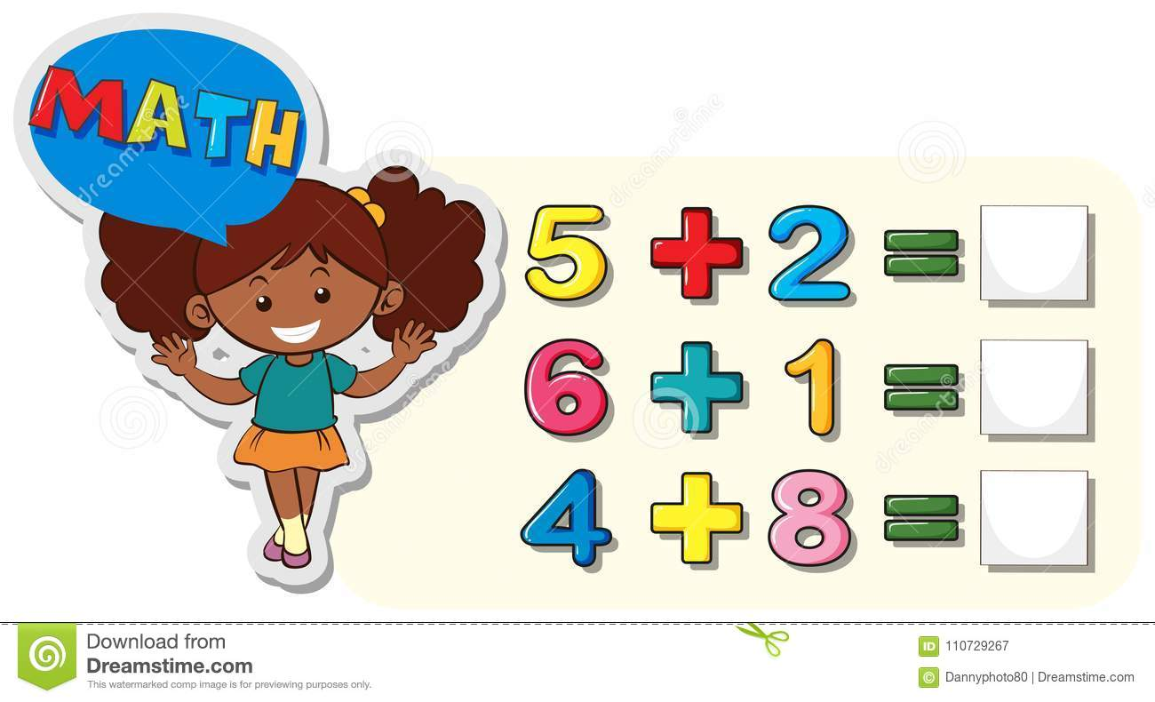 Math Worksheet For Addition Stock Vector