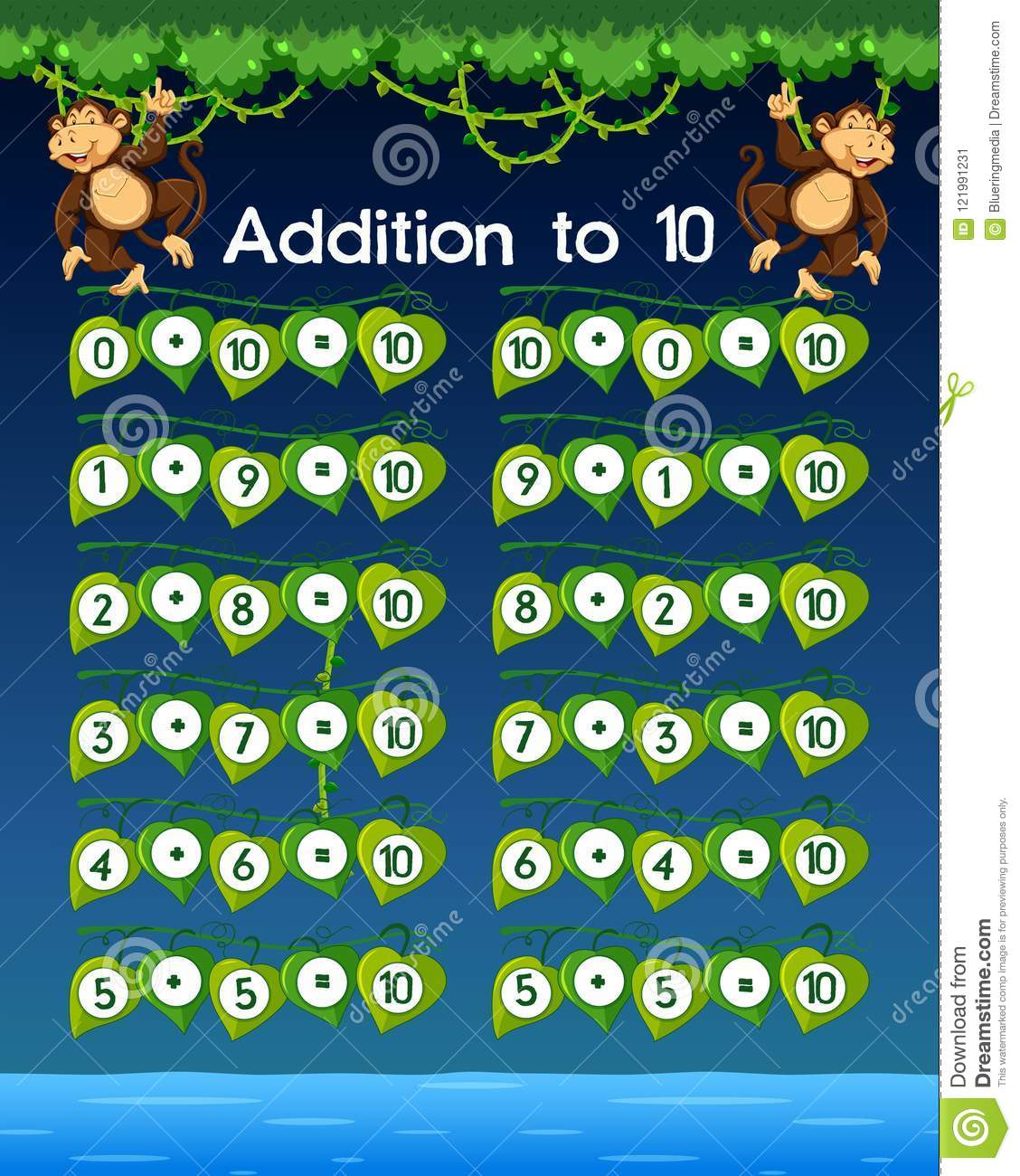 A Math Worksheet Addition To 10 Stock Vector