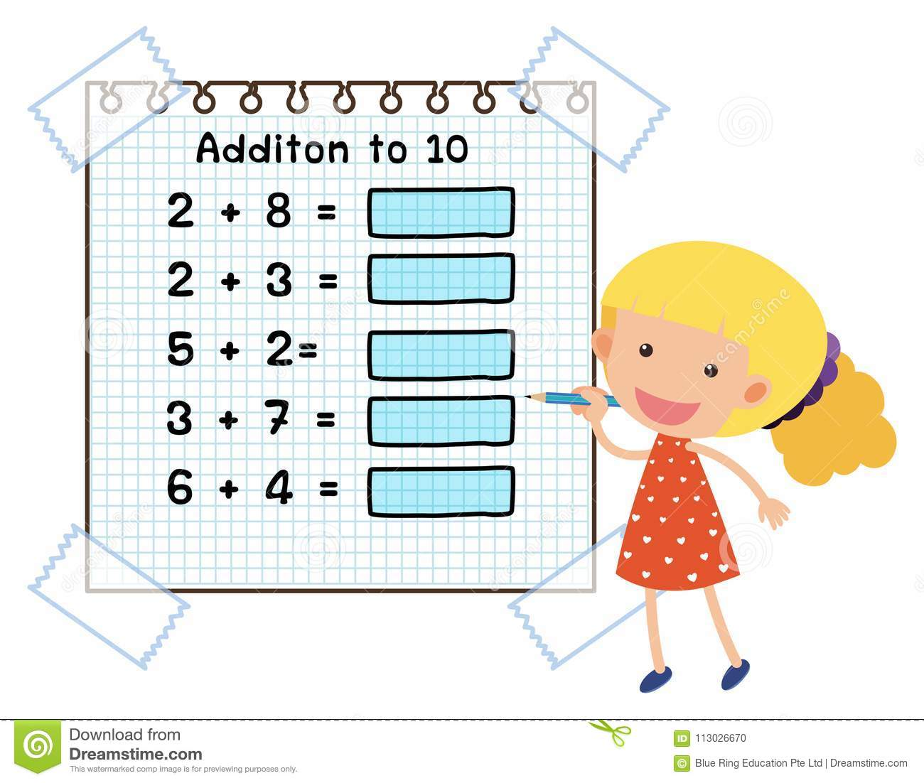 Math Worksheet For Addition To Ten Stock Vector
