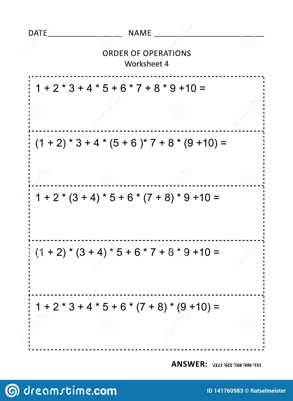 Math Worksheet For Children And Adults Stock Vector