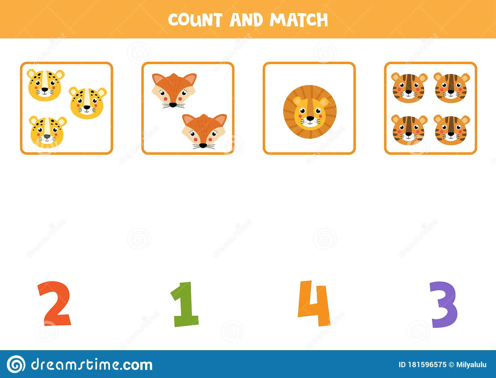 Math Worksheet For Kids Counting Game With Cute Animal