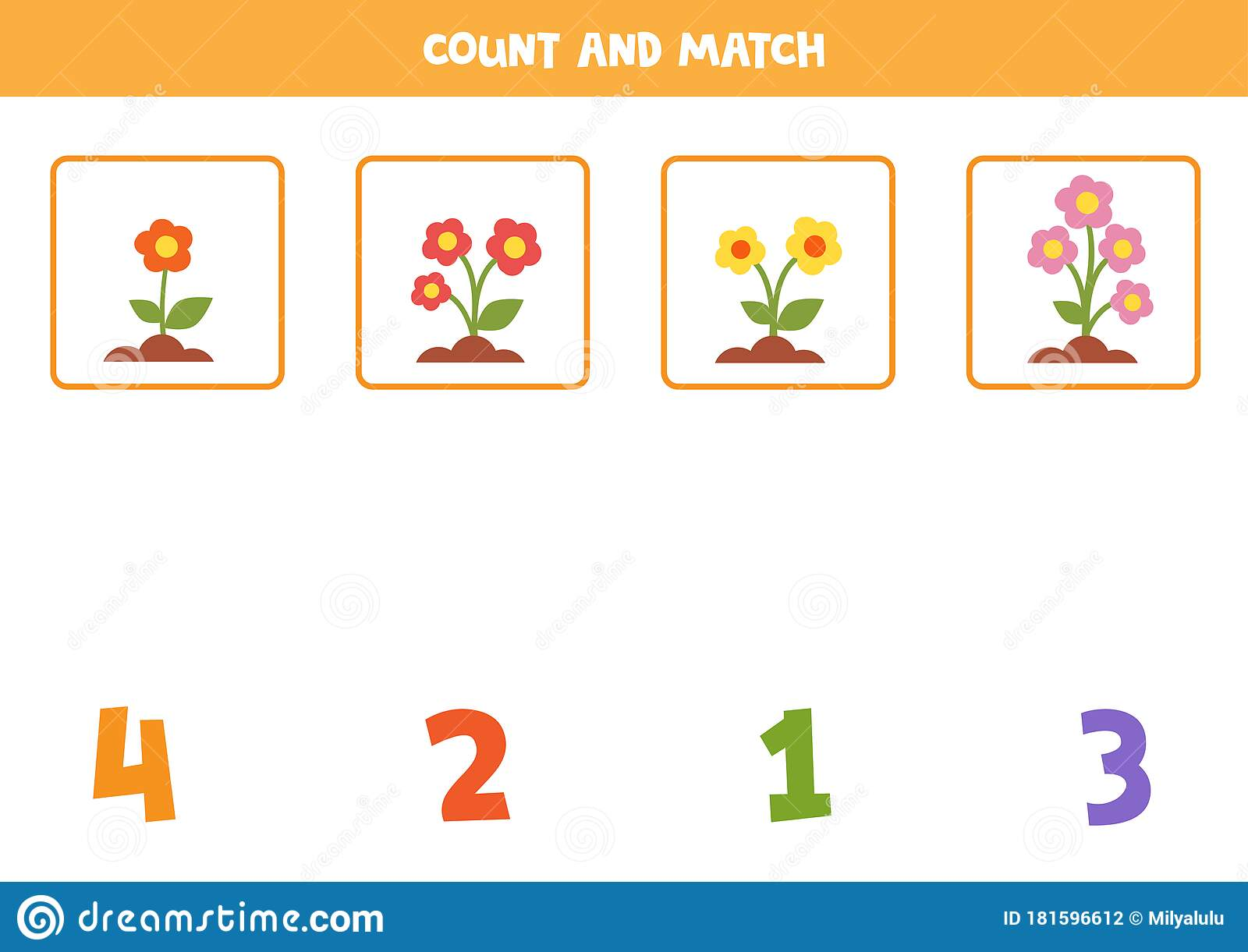 Math Worksheet For Kids Counting Game With Cute Cartoon