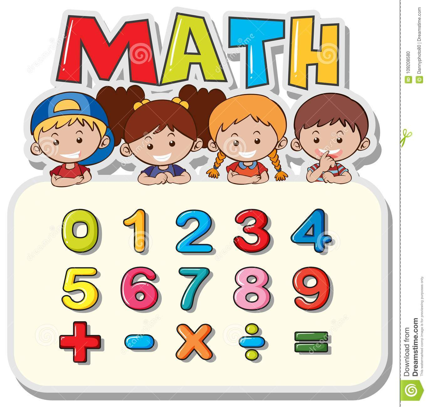 Math Worksheet With Kids And Numbers Stock Vector