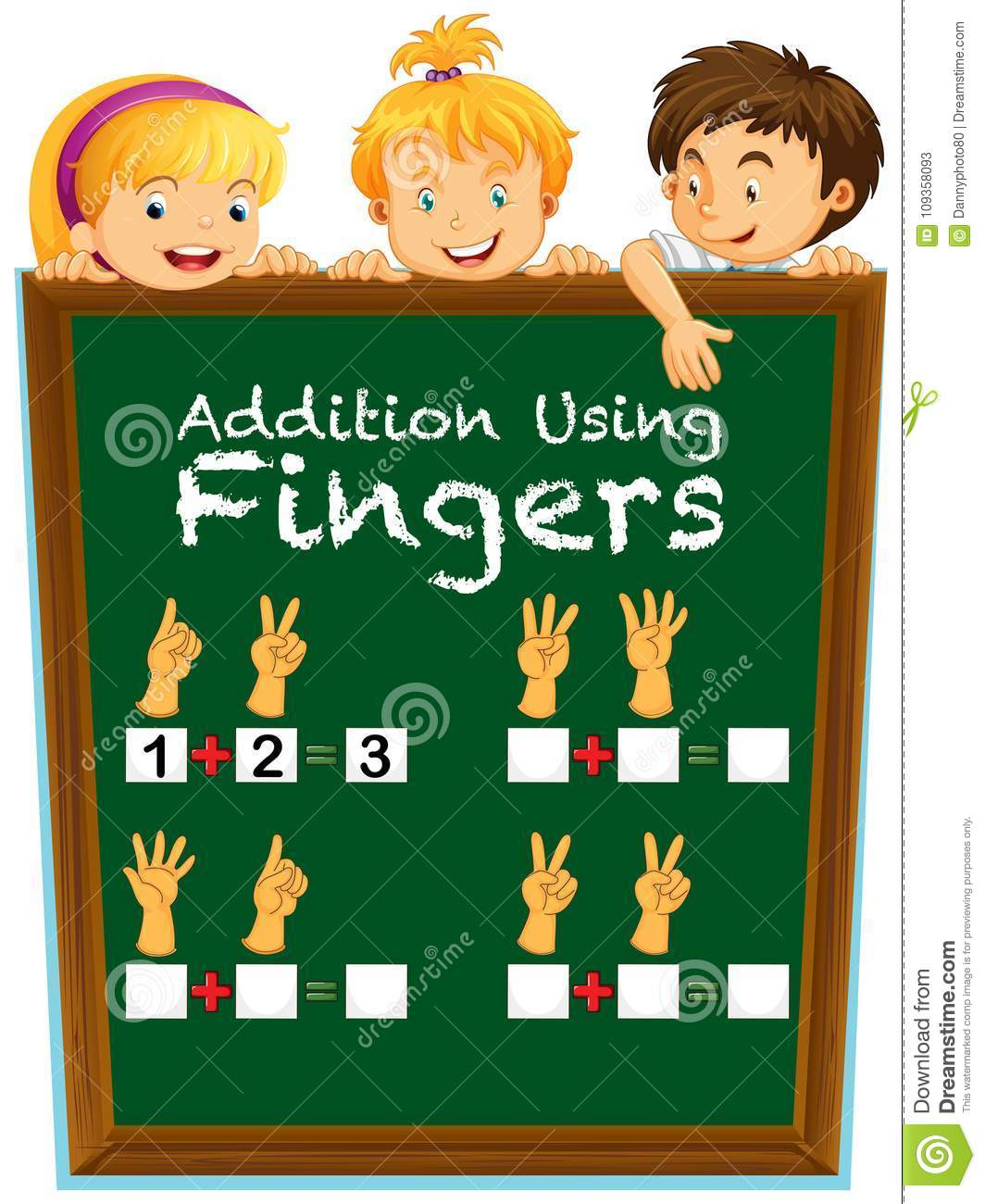Math Worksheet With Kids And Question On Board Stock