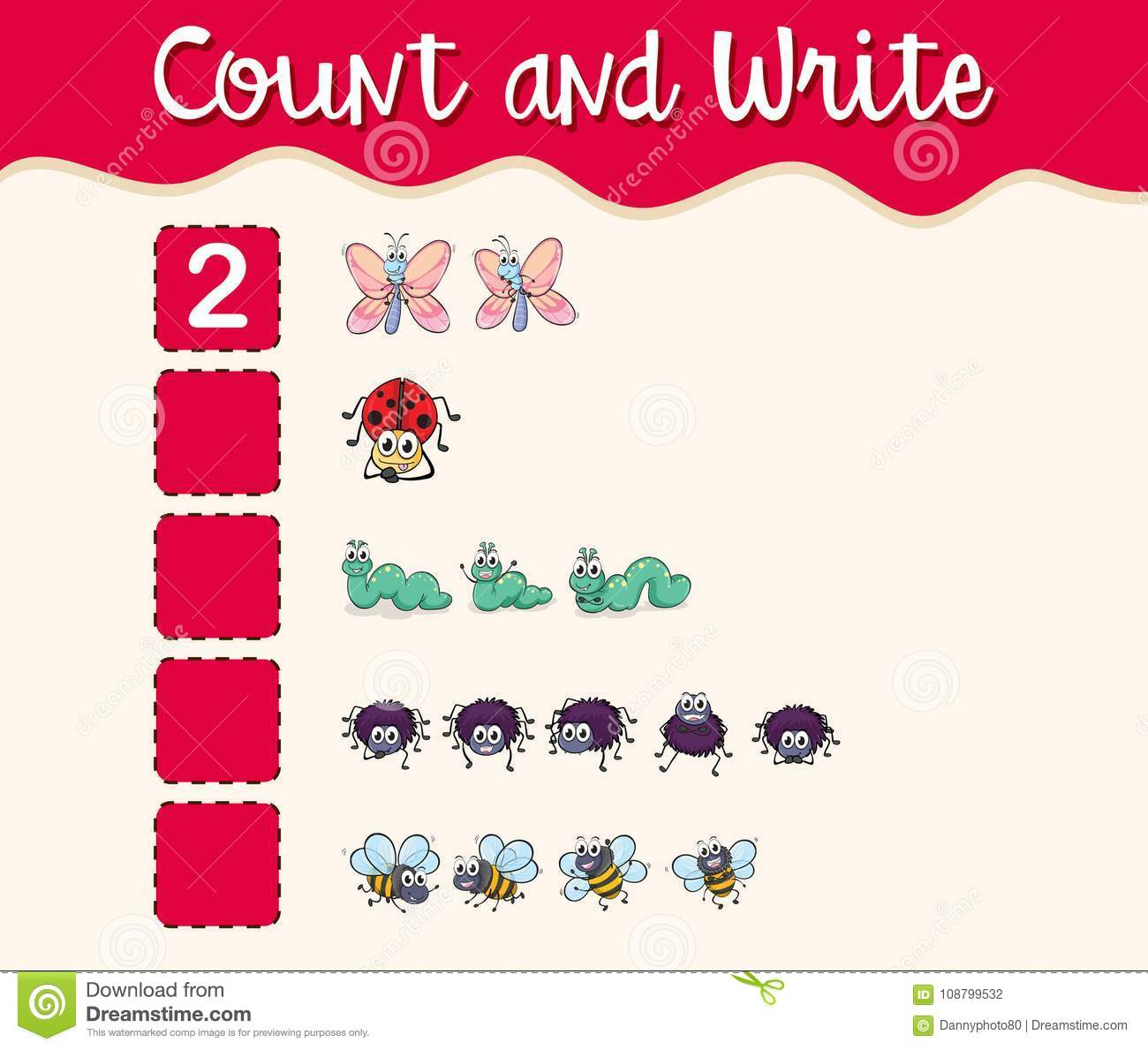 Math Worksheet Template With Count And Write With Insects