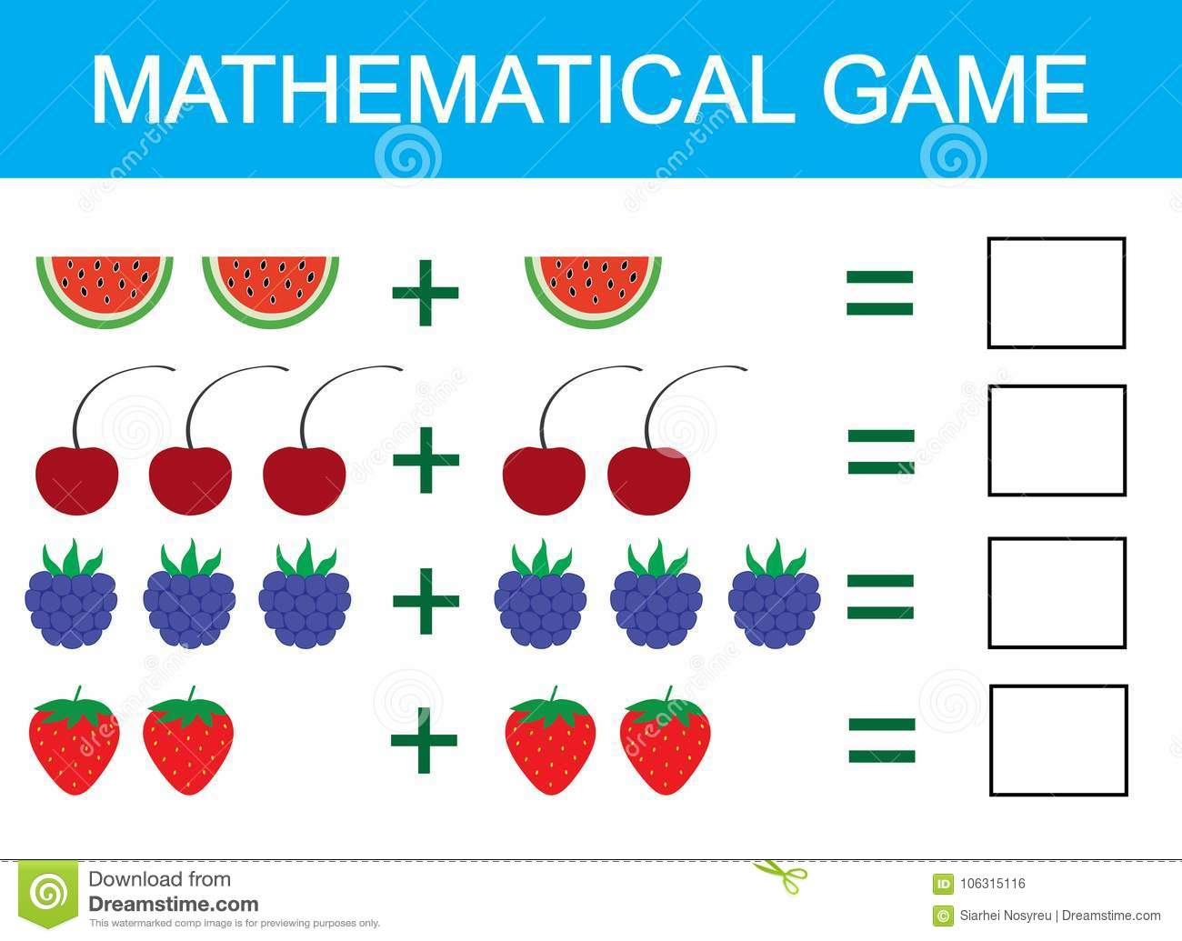 Mathematical Game For Children Learning Addition For Kids