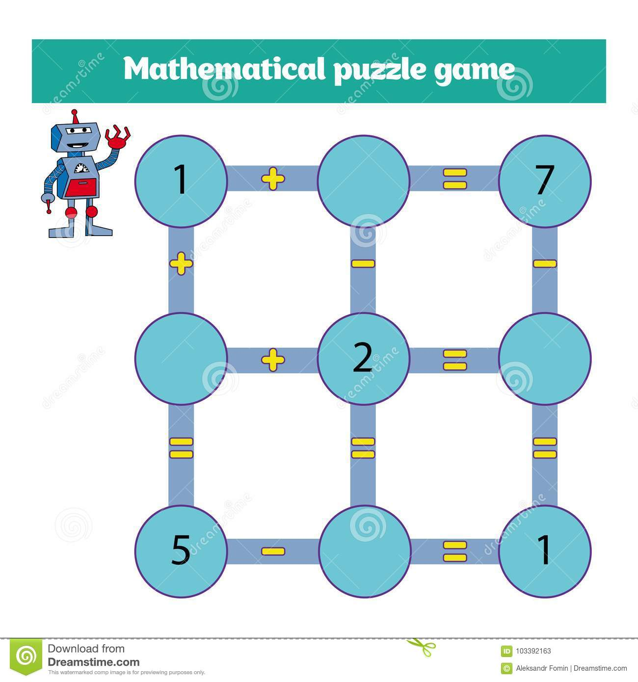 Mathematical Puzzle Game Learning Mathematics Tasks For Addition For Preschool Children