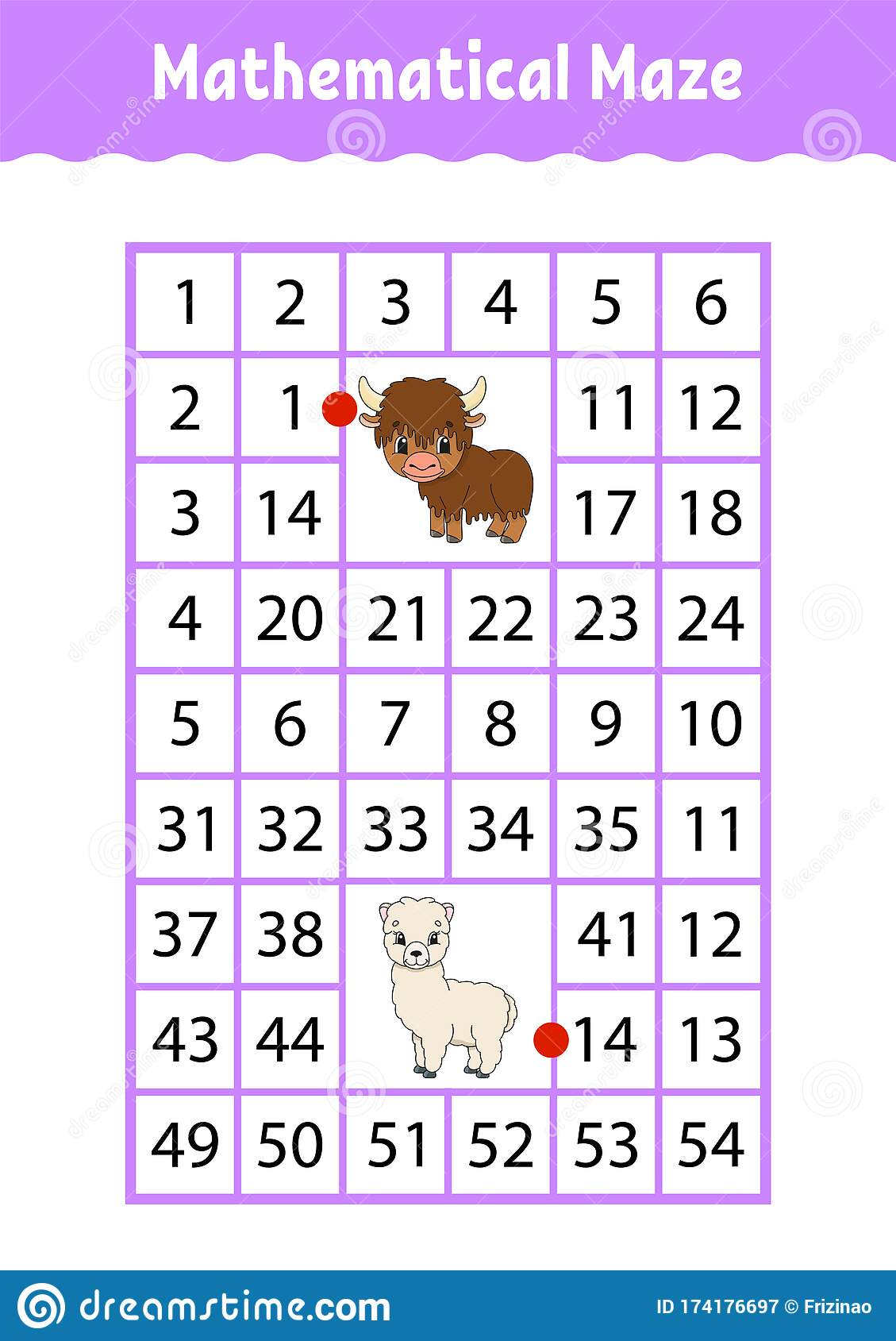 Mathematical Rectangle Maze Yak And Alpaca Game For Kids