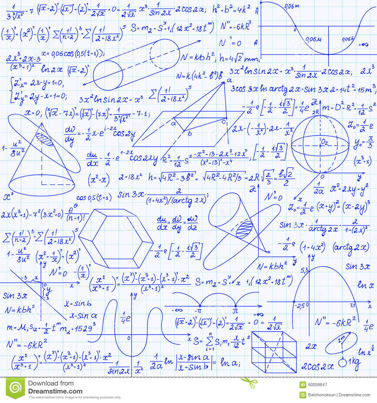 Mathematical Vector Seamless Pattern With Geometrical Figures Plots And Equations Handwritten