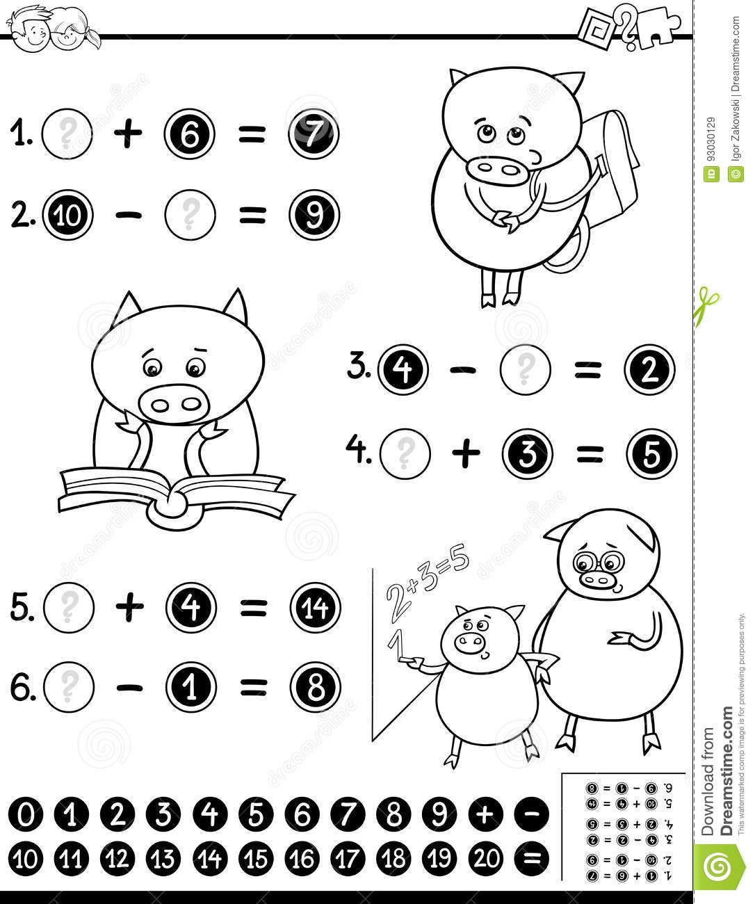 Mathematical Worksheet For Coloring Stock Vector
