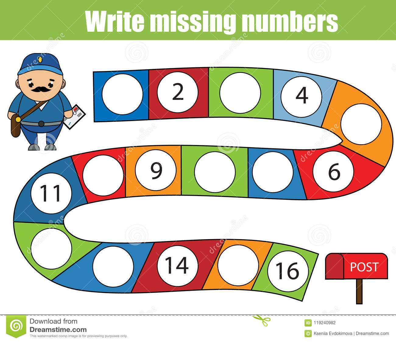 Mathematics Educational Game For Children Write The