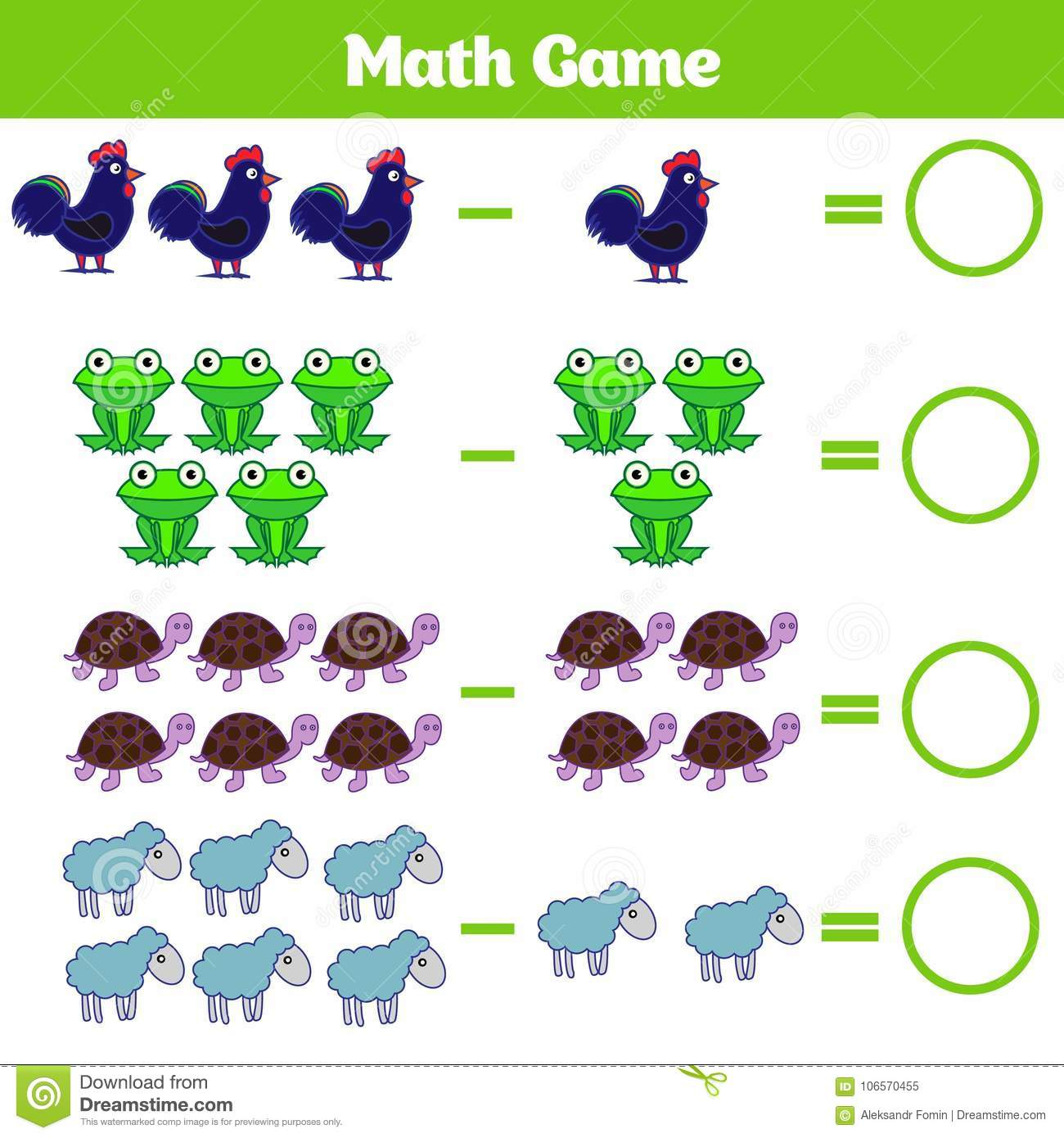 Mathematics Educational Game For Children Learning Subtraction Worksheet For Kids Counting