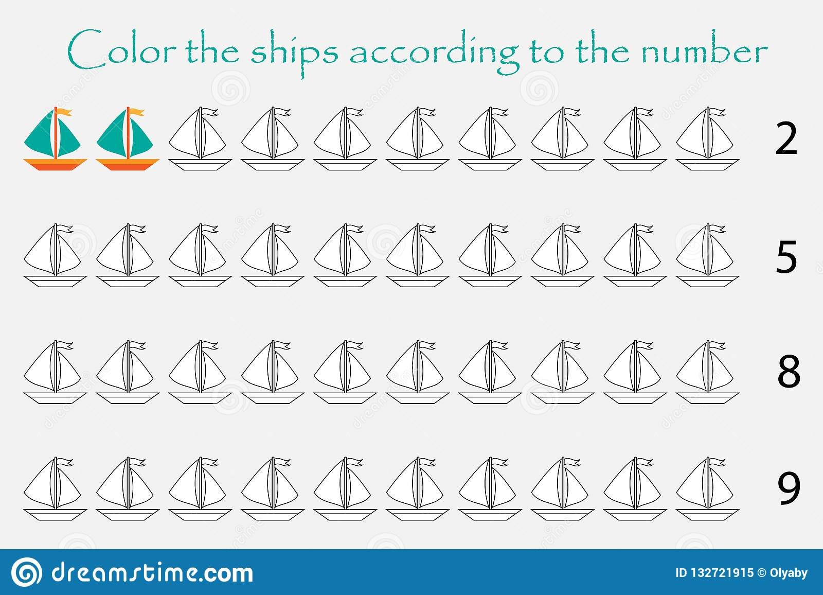 Mathematics Game For Children Count And Color Ships Easy