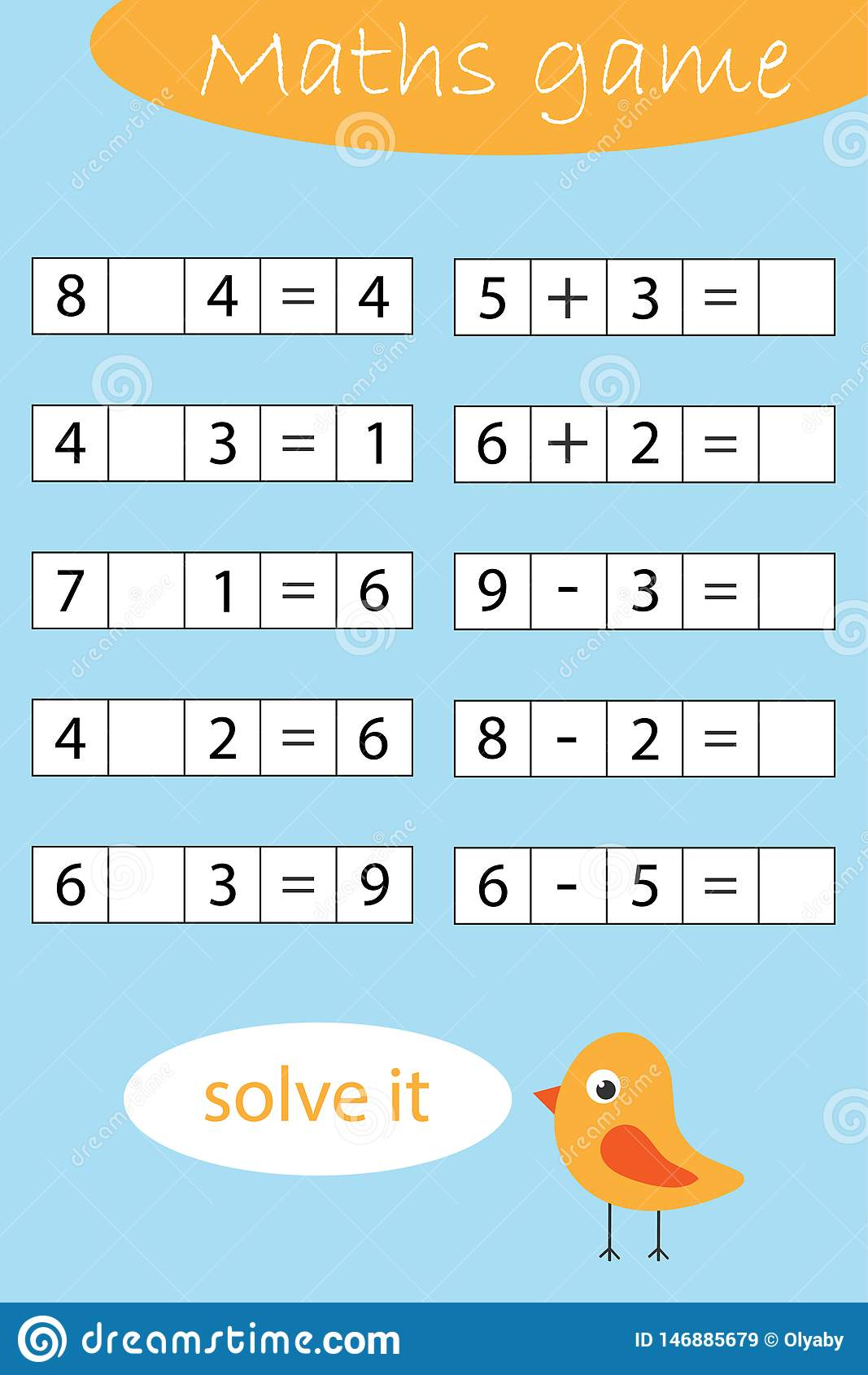 Mathematics Game For Children Find A Solution Solve And