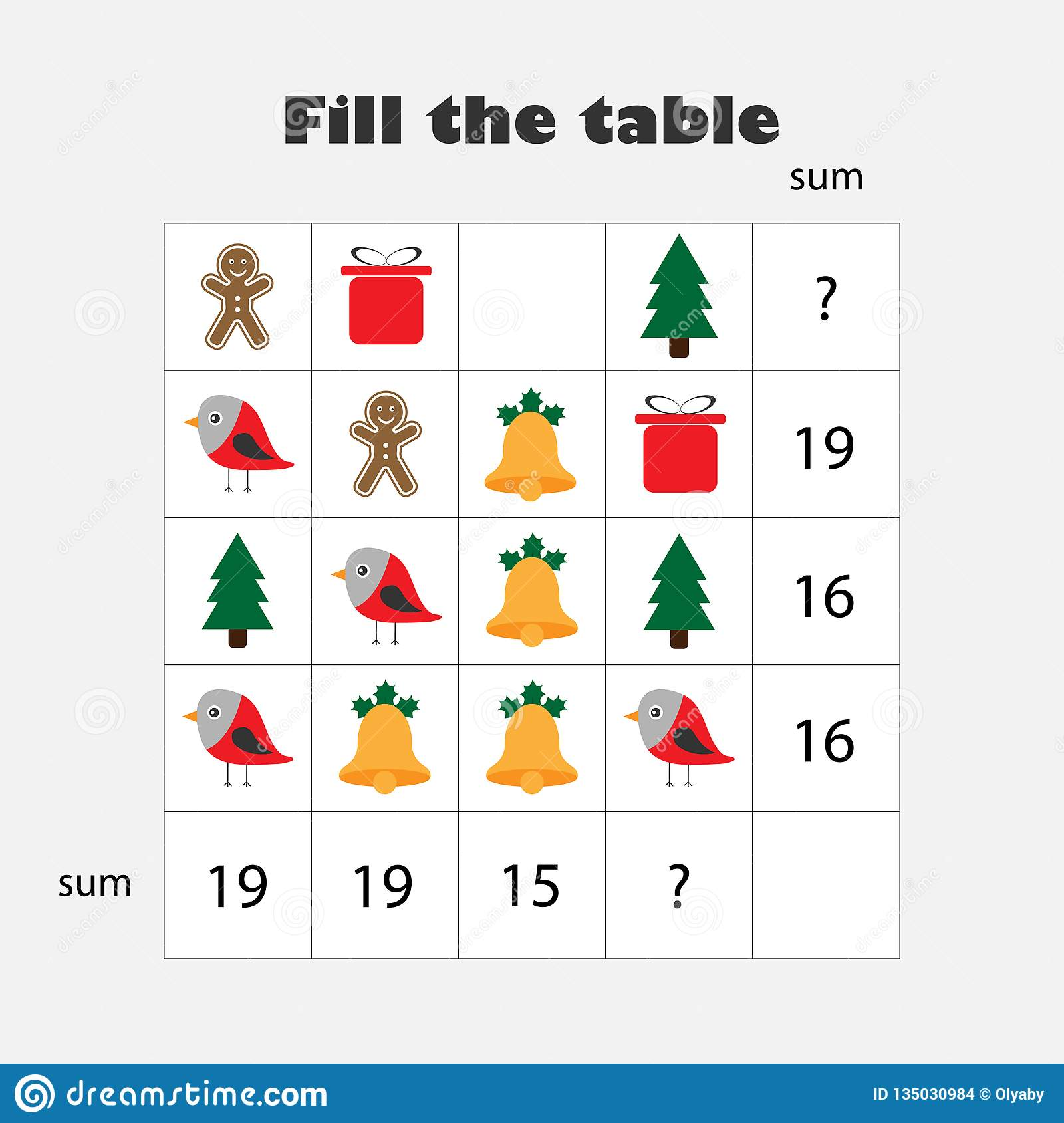 Mathematics Xmas Game With Pictures Christmas Theme For