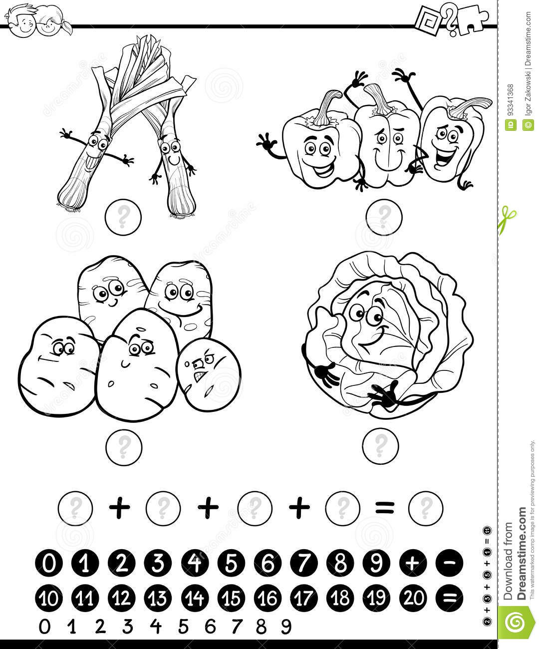 Maths Activity Worksheet Coloring Page Stock Vector