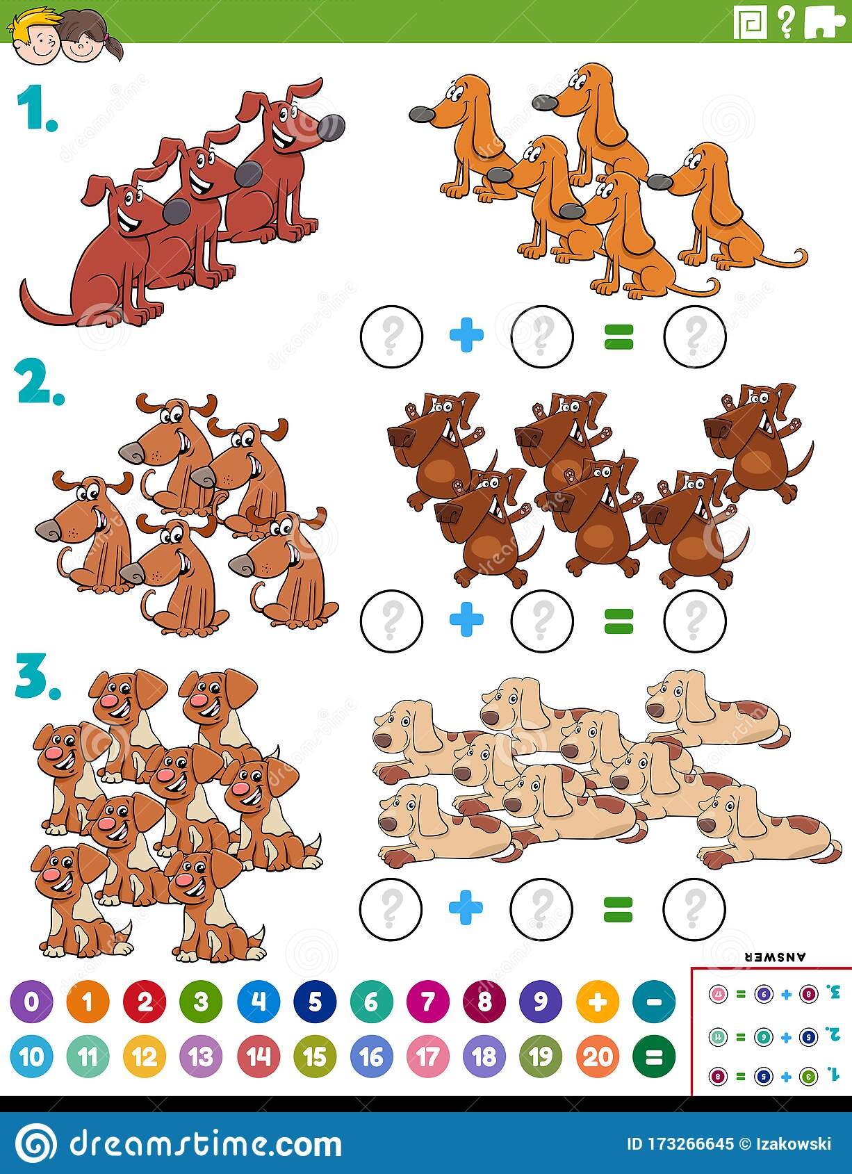Maths Addition Educational Task With Dogs Stock Vector