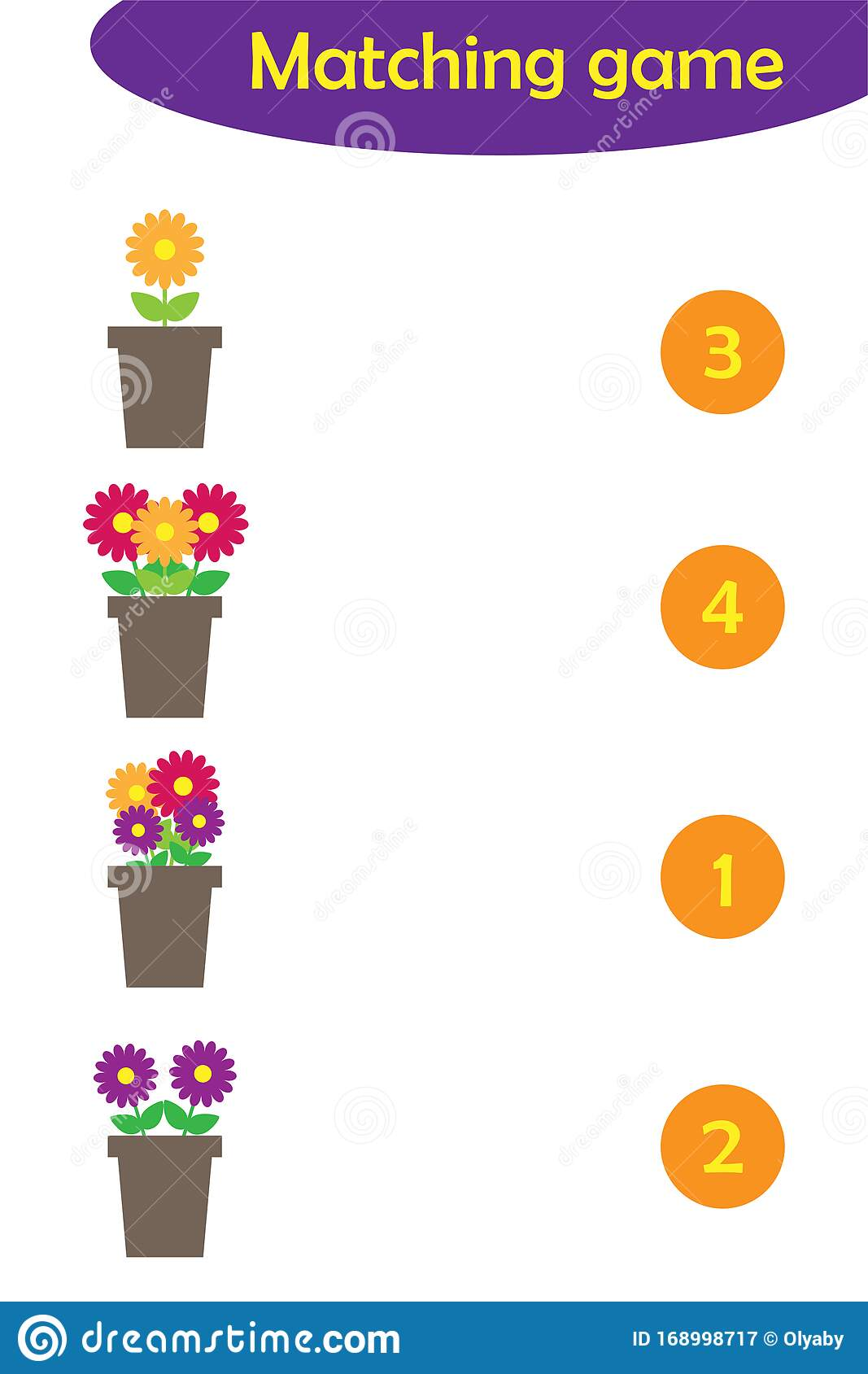 Maths Game With Flowers In Pots For Children Easy Level