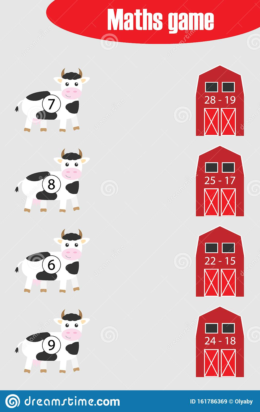 Maths Game With Pictures Of Cow And Farm Barn For Children