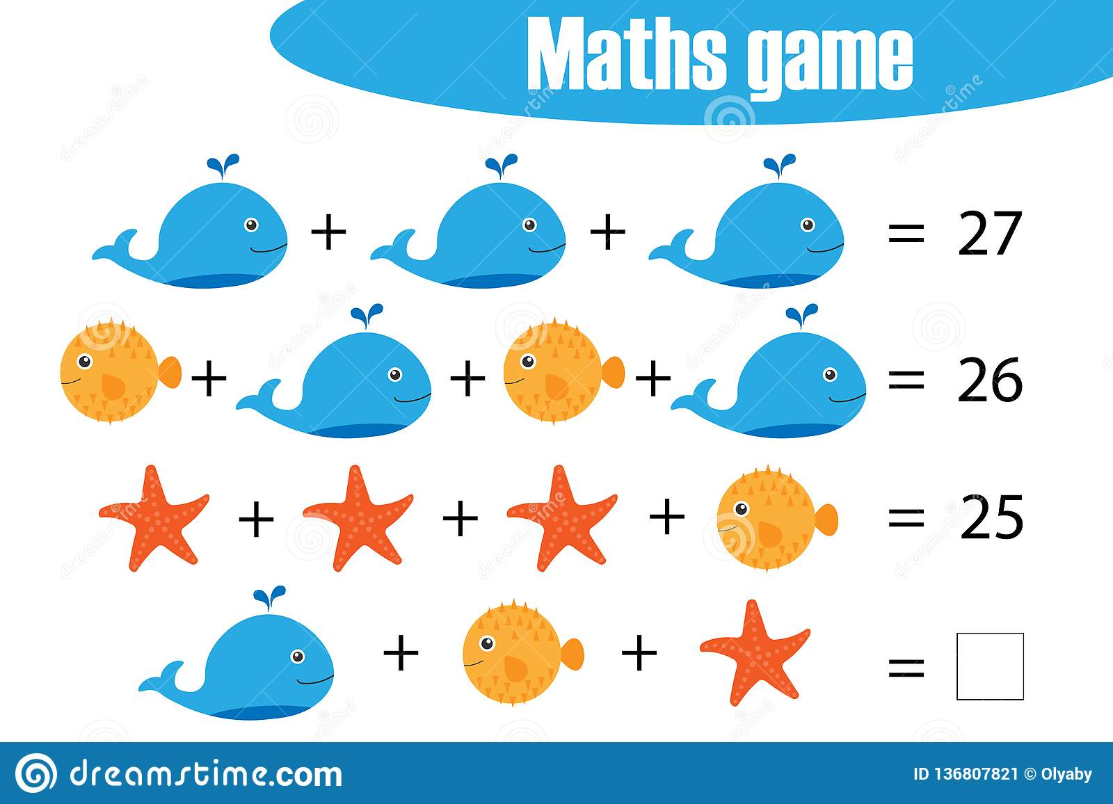 Maths Game With Pictures Of Ocean Animals For Children