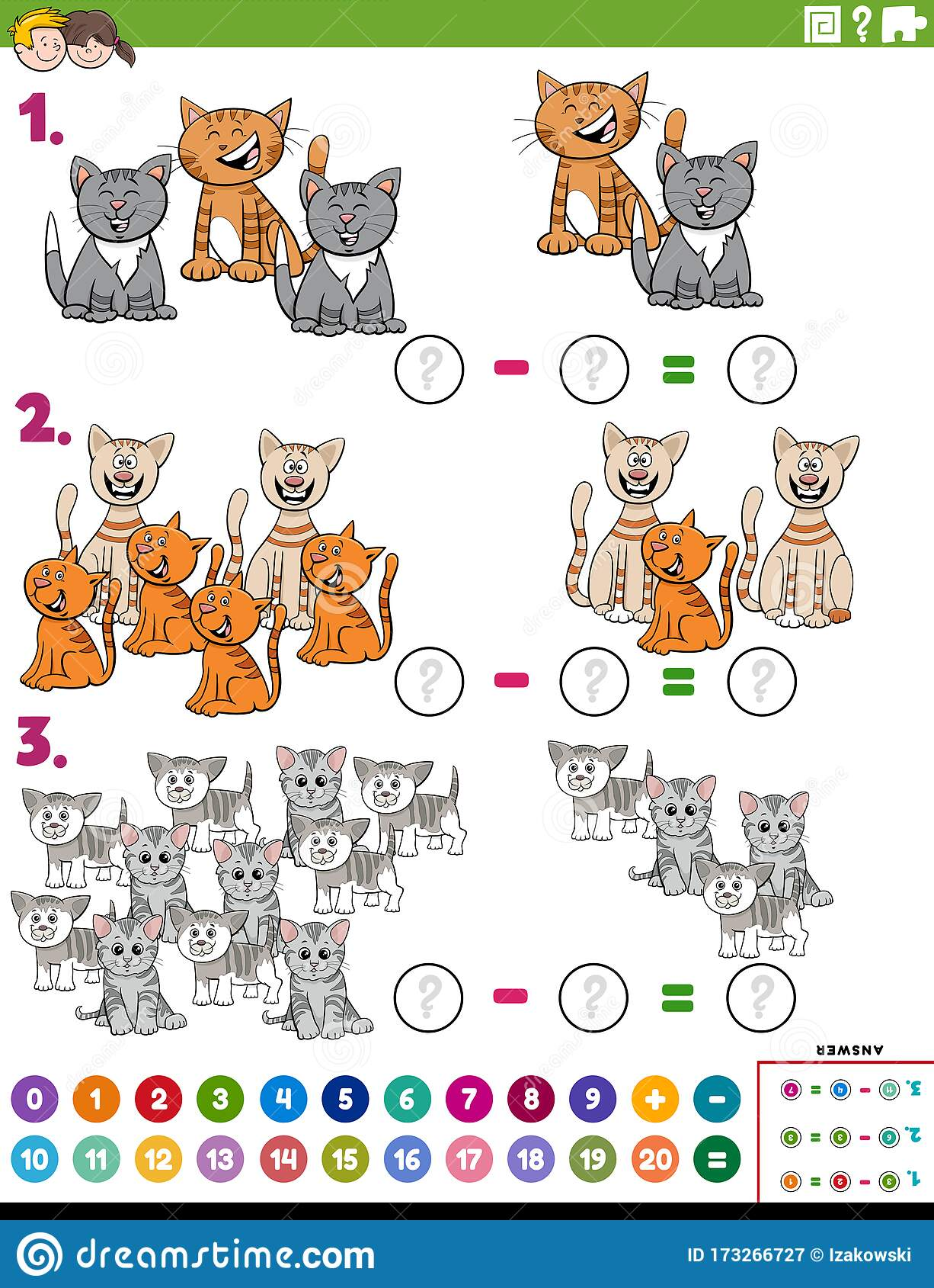 Maths Subtraction Educational Task With Cats Stock Vector