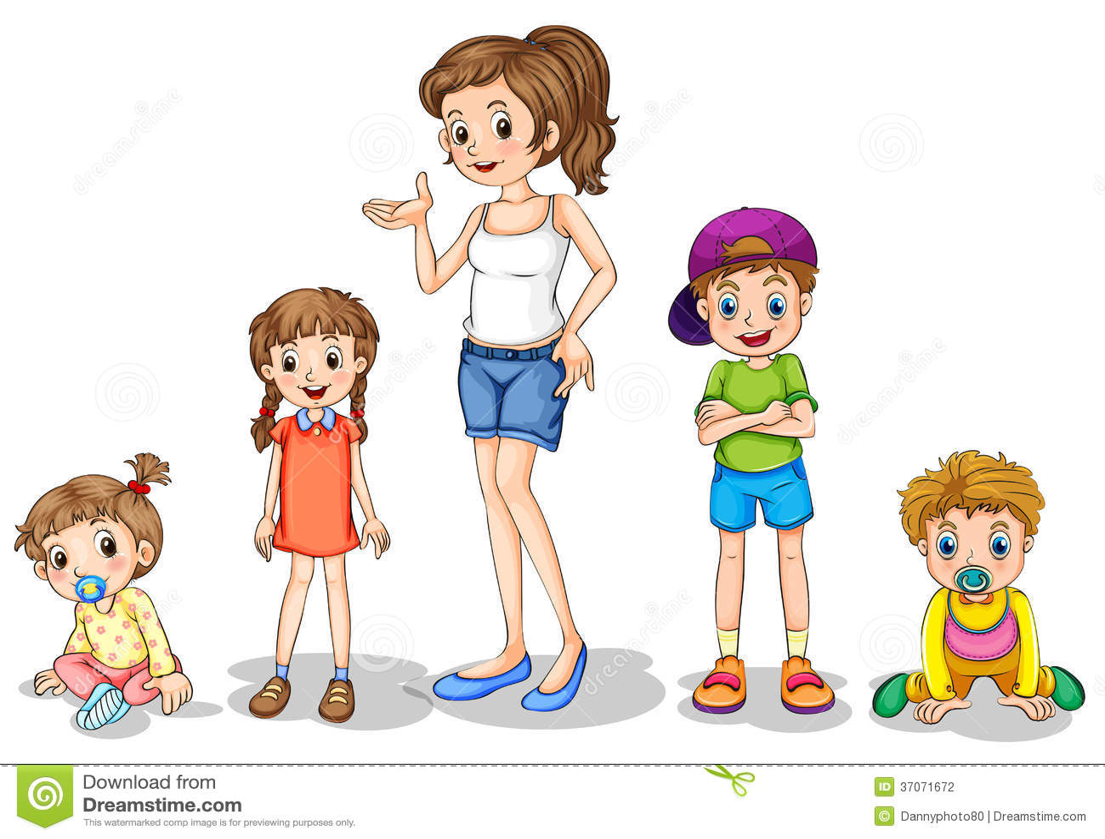 Matka Z Jej Cztery Dzieciakami Ilustracja Wektor