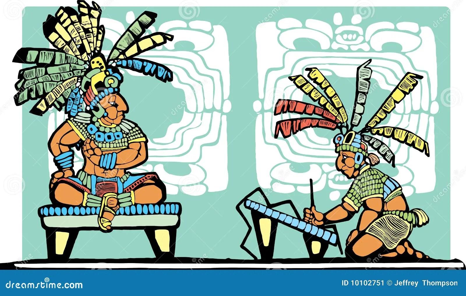 Mayan King And Scribe Stock Vector Illustration Of Brush