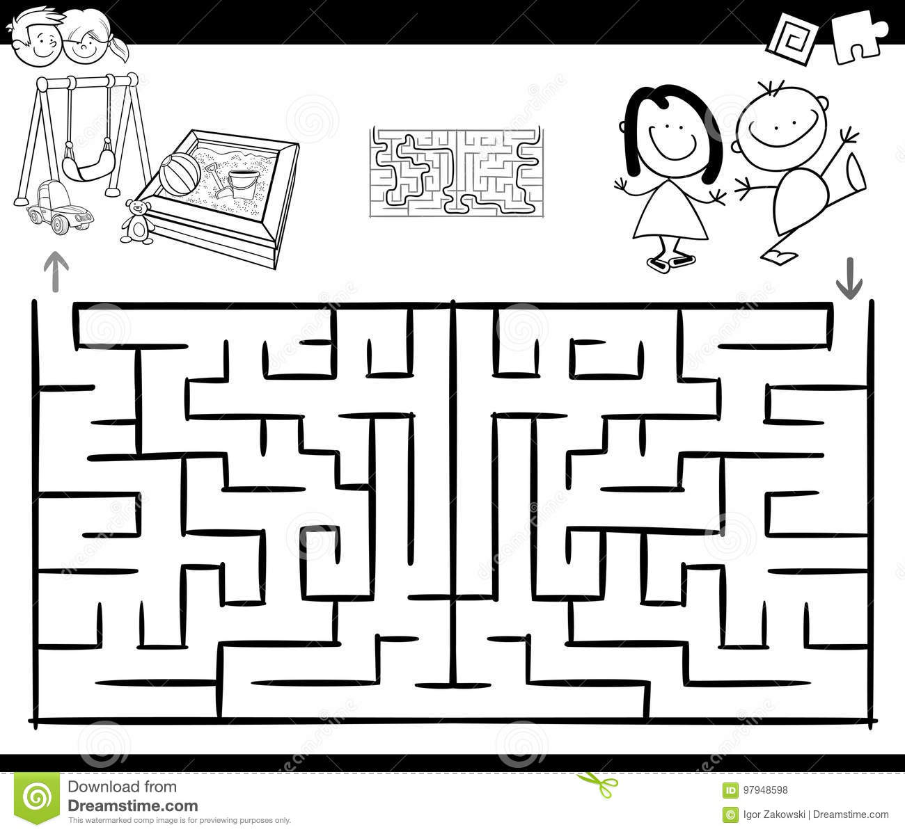 Maze Activity Game With Kids And Playground Stock Vector