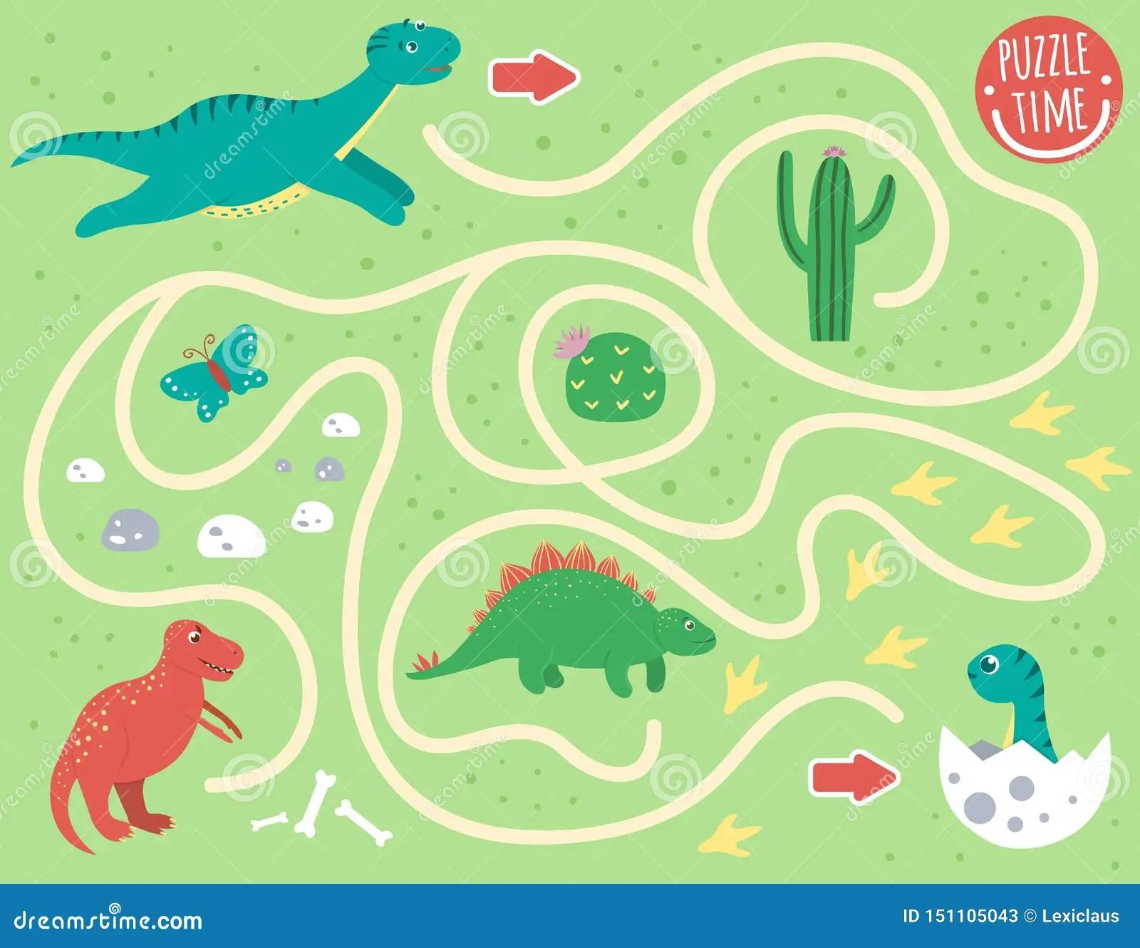 Maze For Children Preschool Activity With Dinosaur Stock