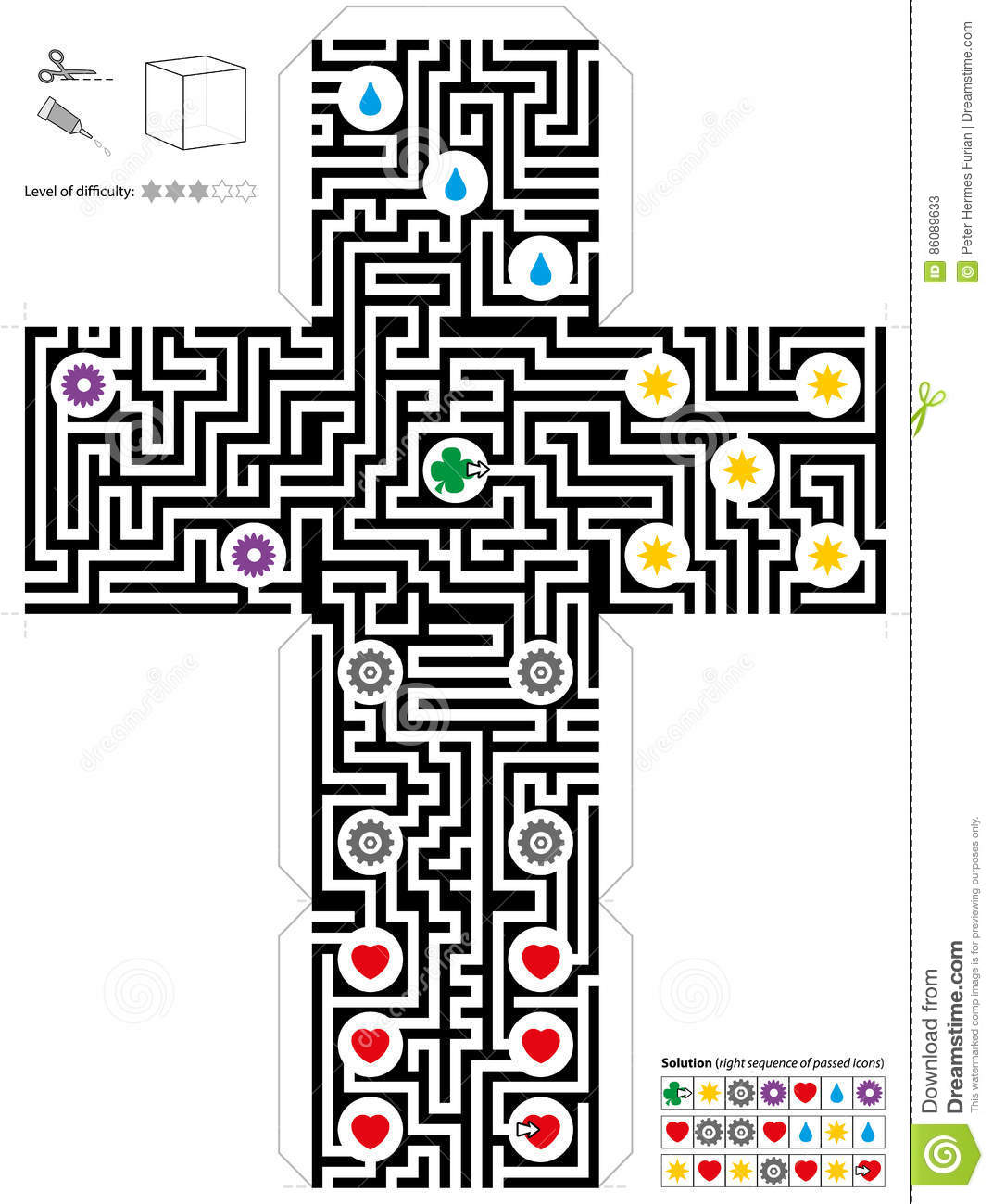 Maze Cube Template Stock Vector Illustration Of Confusion