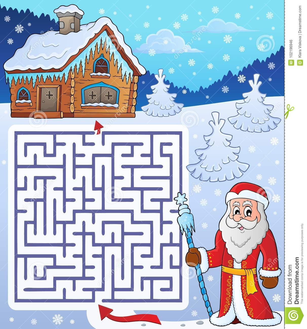 Maze 3 With Father Frost Theme Stock Vector
