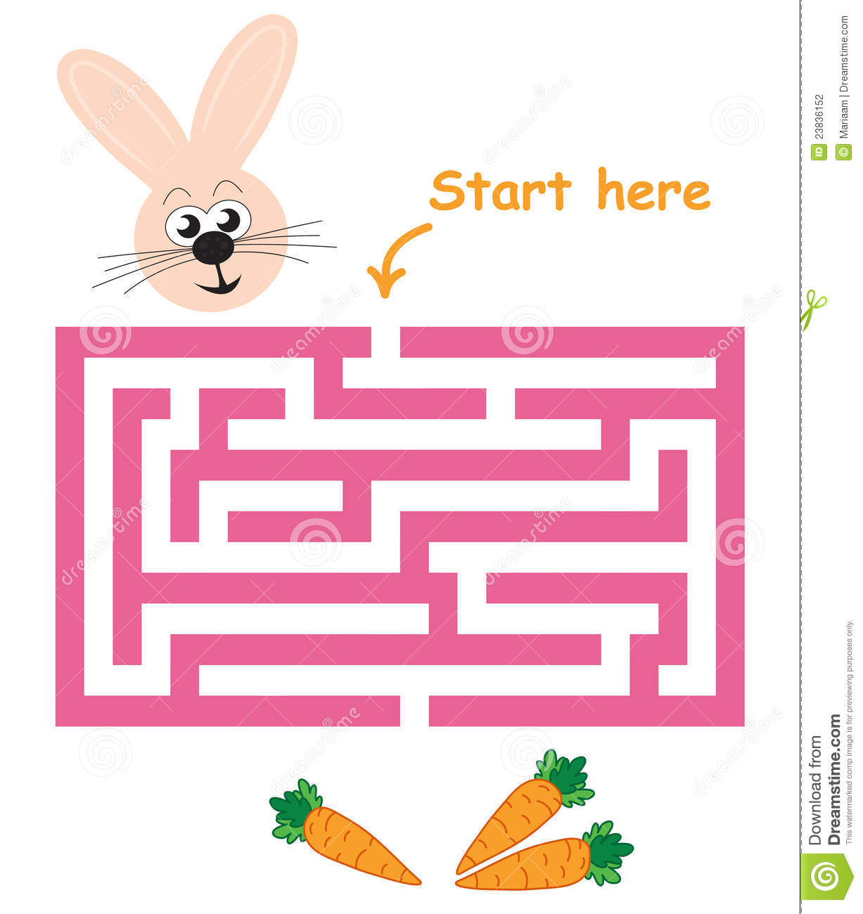 Maze Game Bunny Amp Carrots Stock Photography