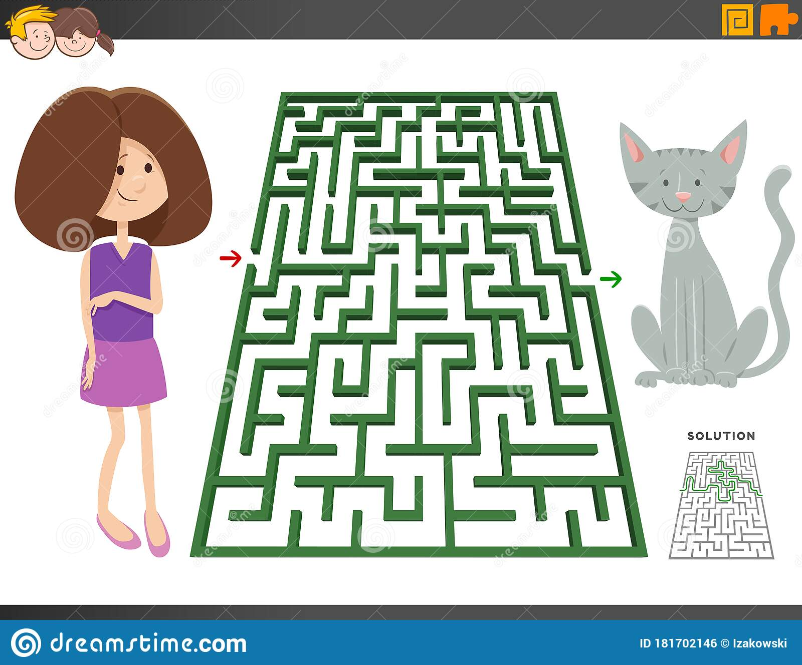Maze Game With Cartoon Girl And Pony Horse Stock Vector