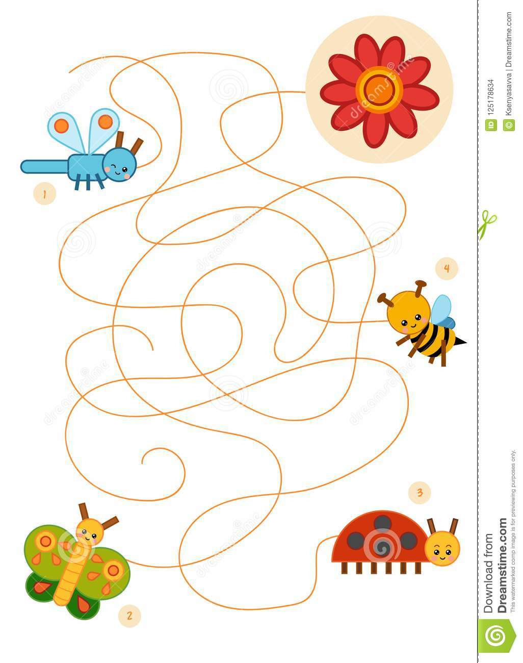 Maze Game For Children Butterfly Ladybug Dragonfly Bee