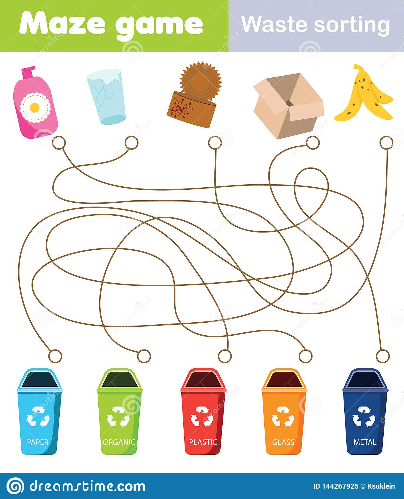 Maze Game For Children Connect Waste And Trash Bin Waste