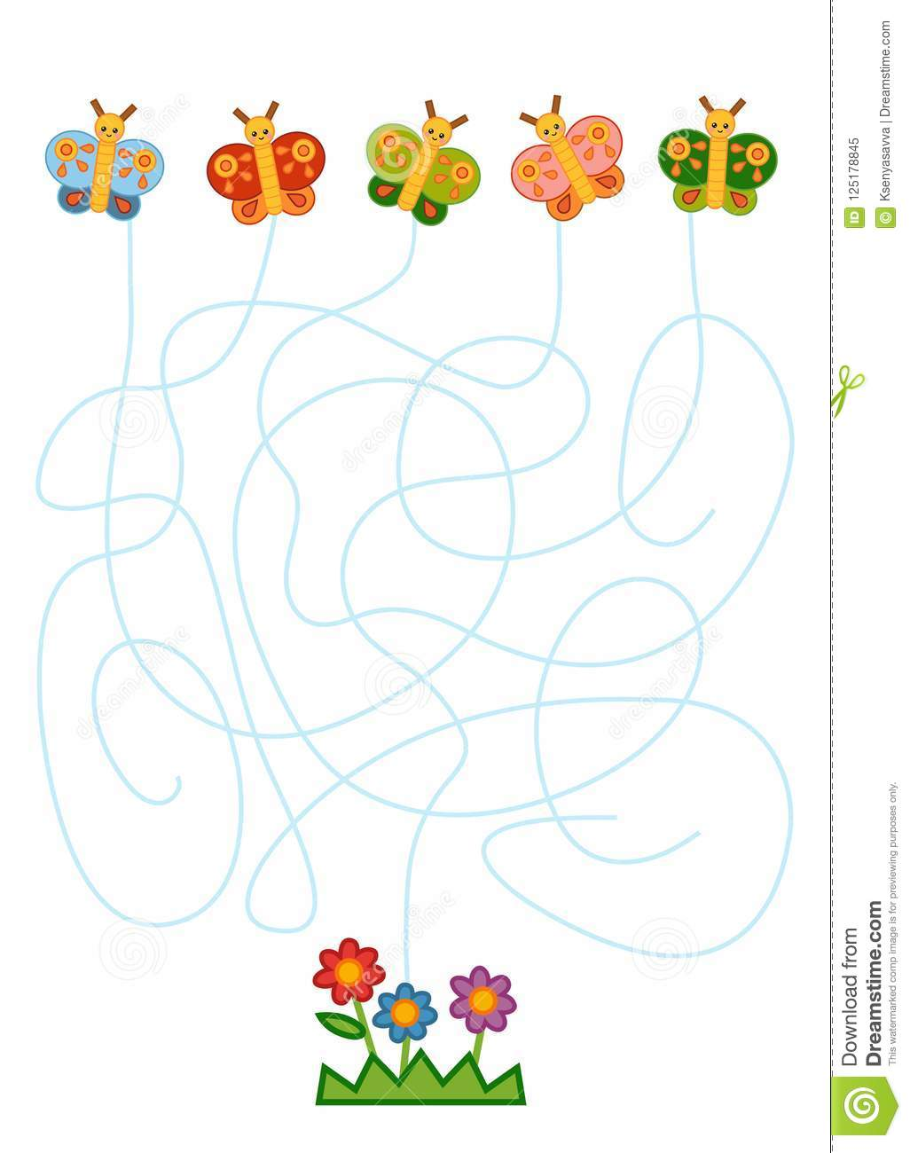 Maze Game For Children Butterflies And Flowers Stock