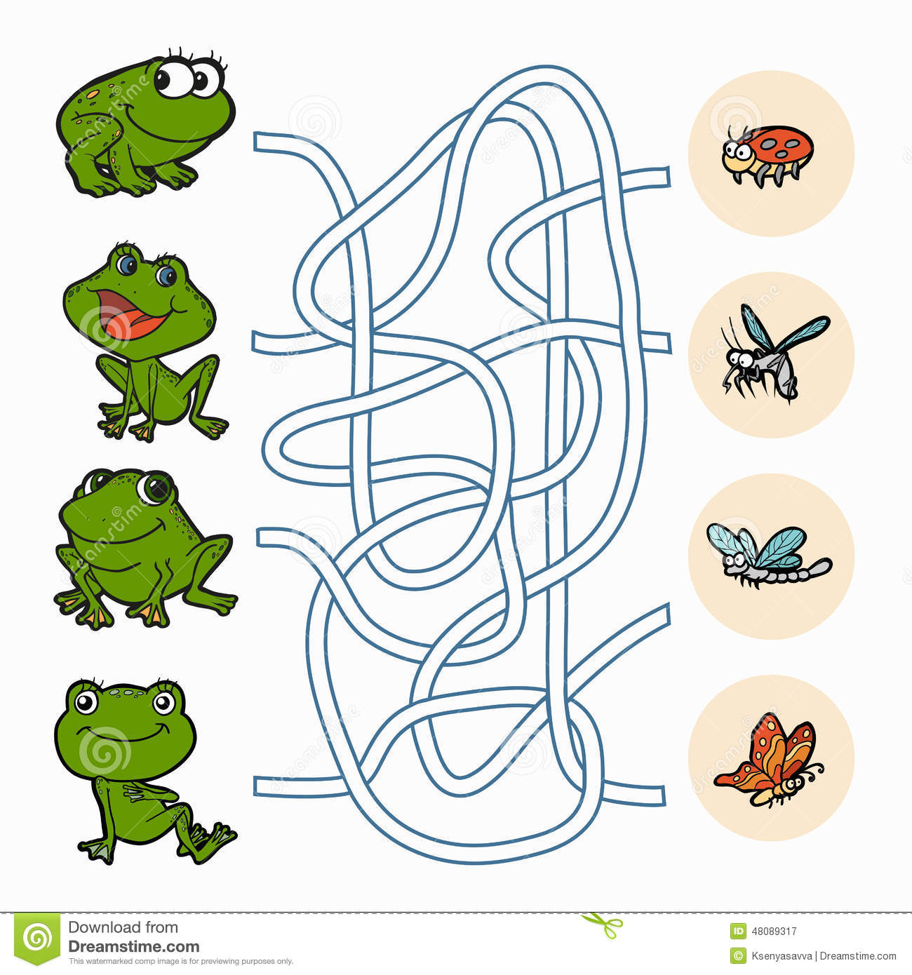 Maze Game Help Frogs To Find Food Stock Vector