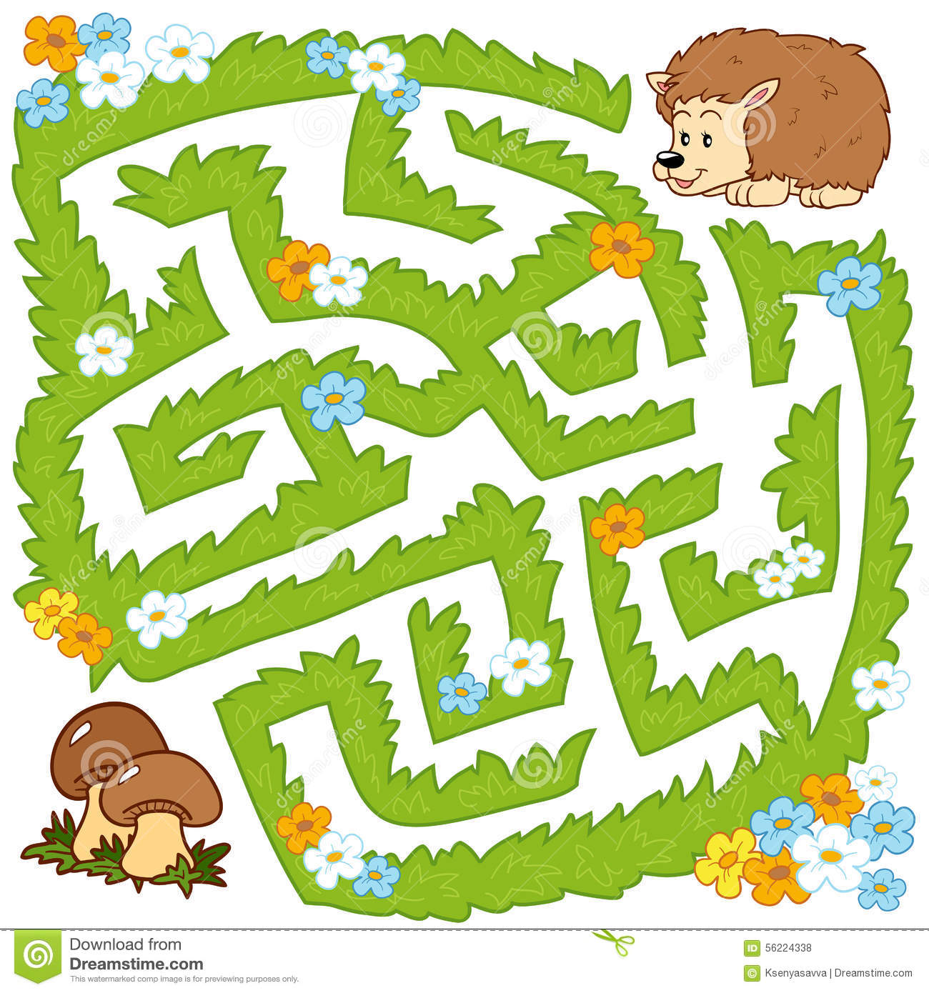 Maze Game Help Hedgehog To Find A Way To Mushrooms Stock